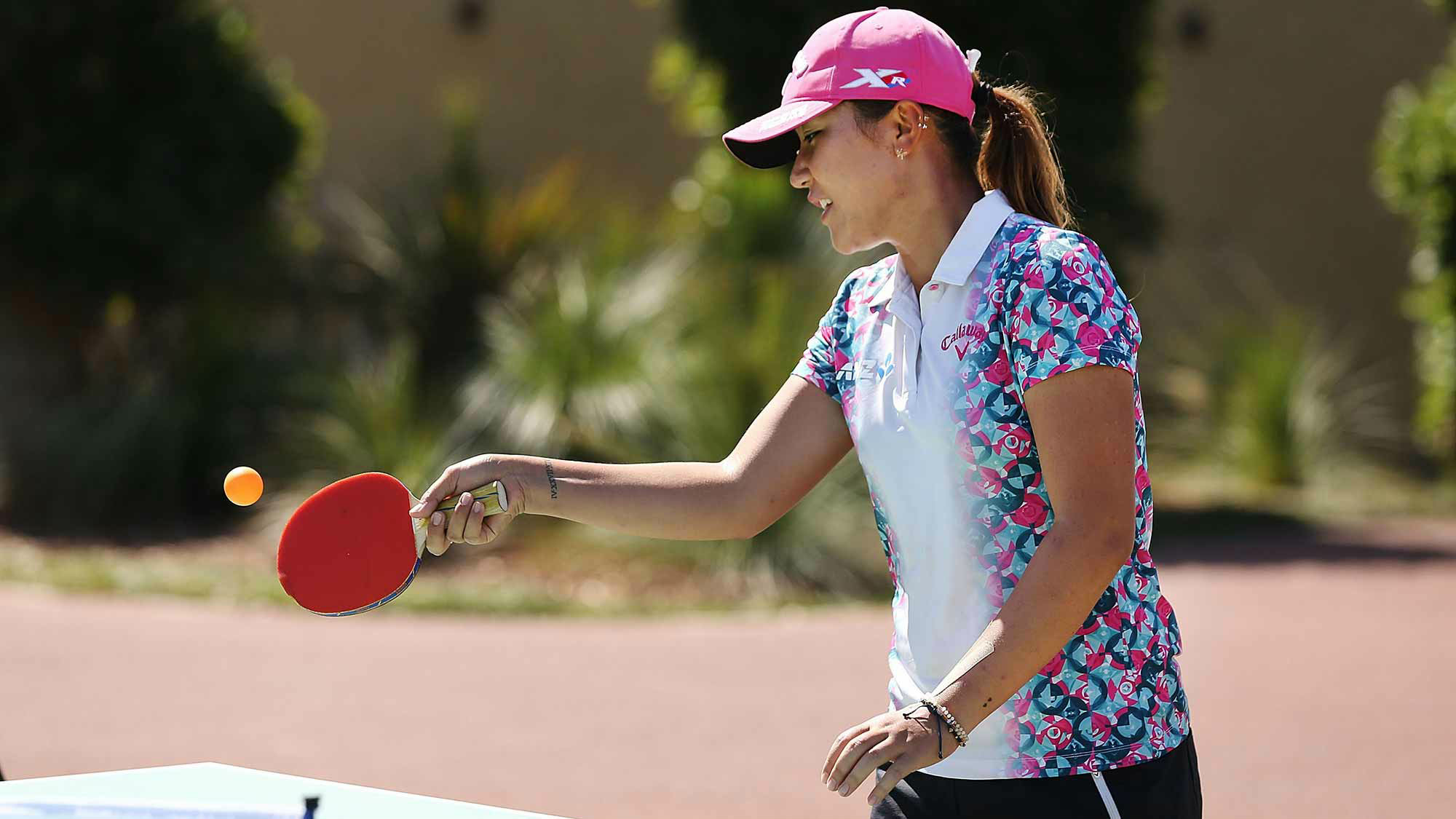 Lydia Ko plays ping-pong after her round at the ISPS Handa Women's Australian Open - Day 2