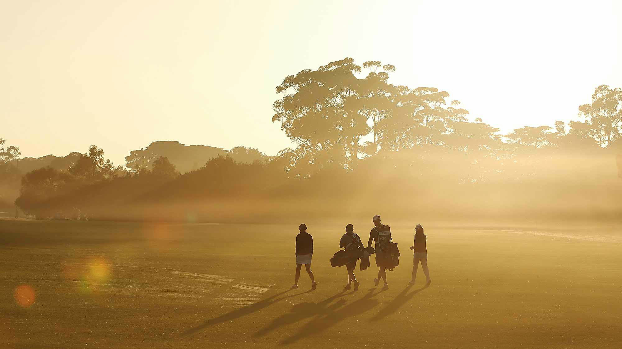 Play resumes during the ISPS Handa Australian Women's Open 2nd Round
