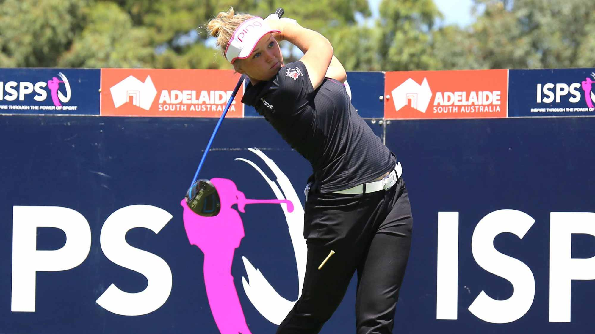 Brooke Henderson during a practice round before the 2016 ISPS Handa Women's Australian Open
