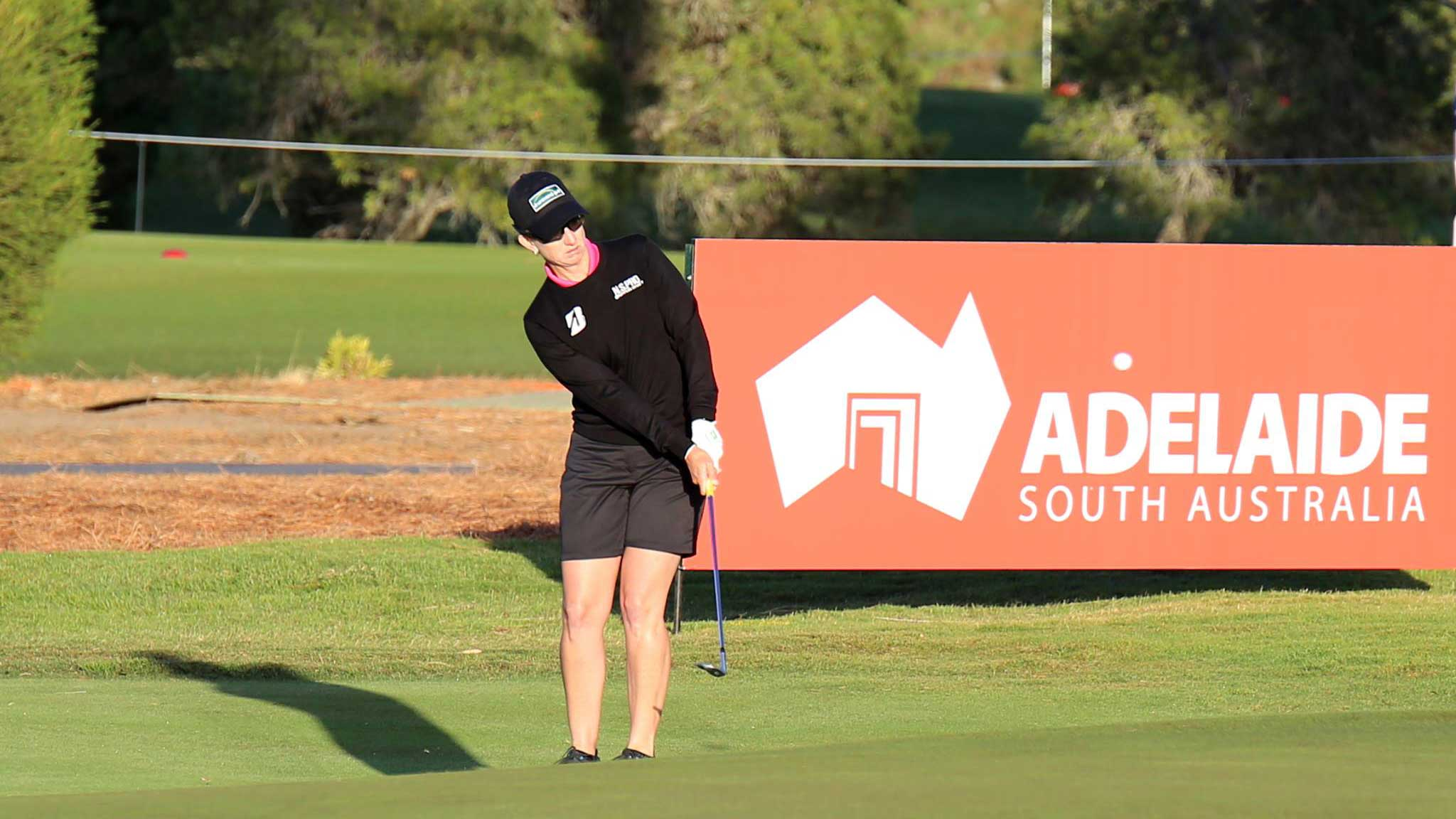 Karrie Webb during a practice round before the 2016 ISPS Handa Women's Australian Open