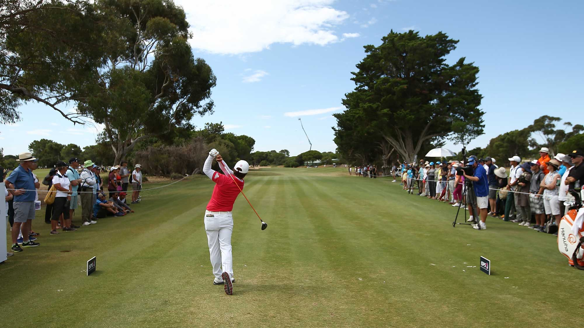 Haru Nomura of Japan tees off during day four of the ISPS Handa Women's Australian Open