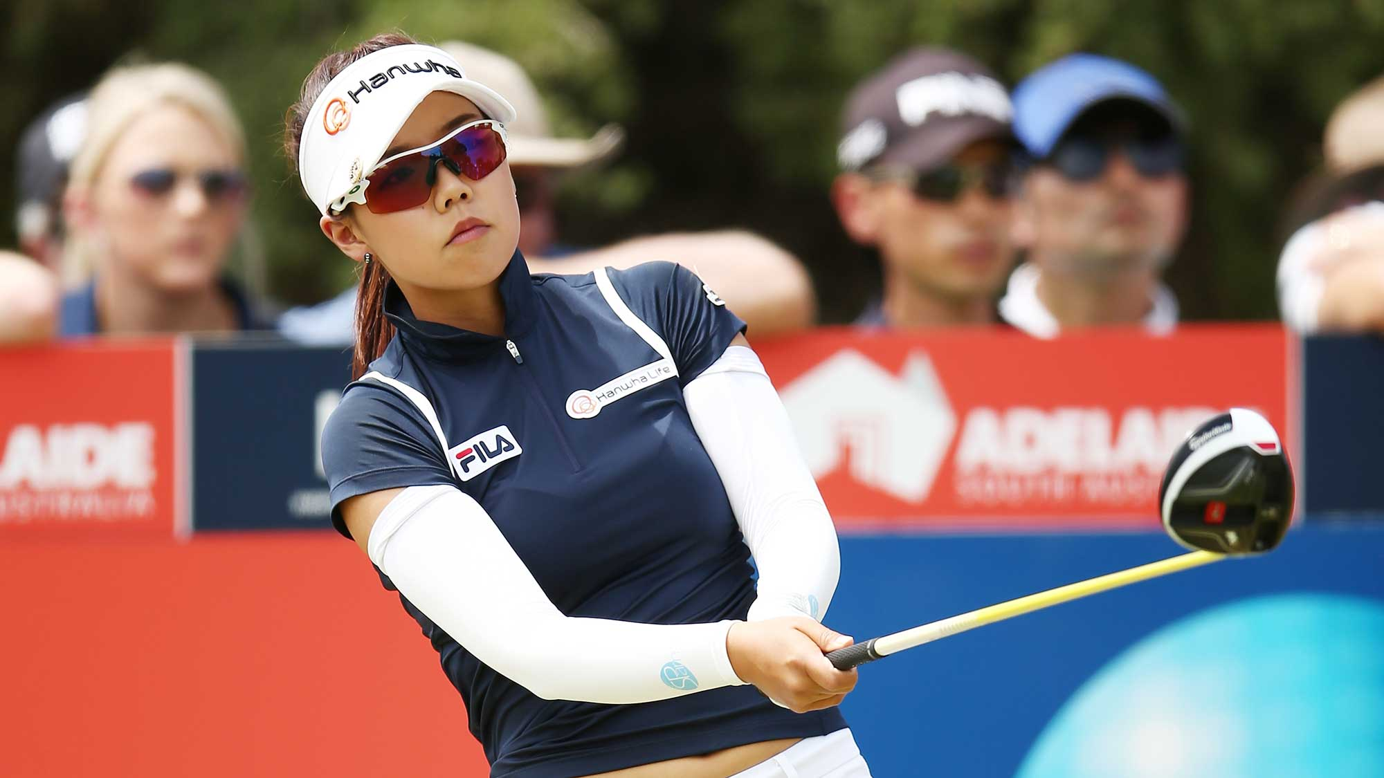Jenny Shin competes during day four of the ISPS Handa Women's Australian Open