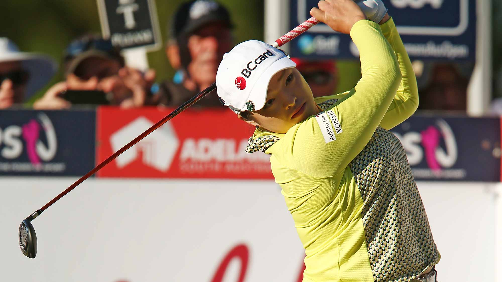 Ha Na Jang of South Korea competes during day one of the ISPS Handa Women's Australian Open