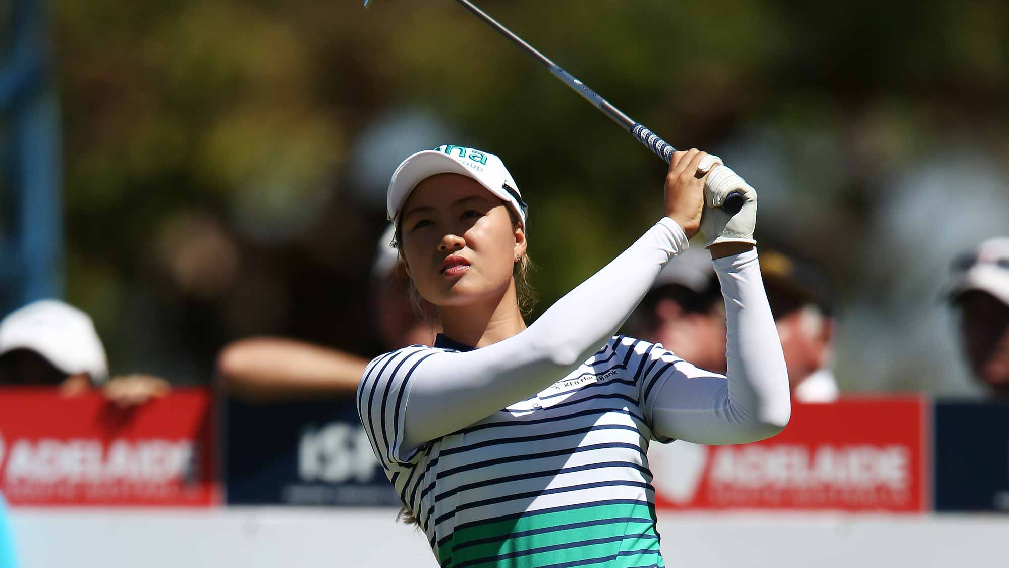 Minjee Lee of Australia competes during day one of the ISPS Handa Women's Australian Open