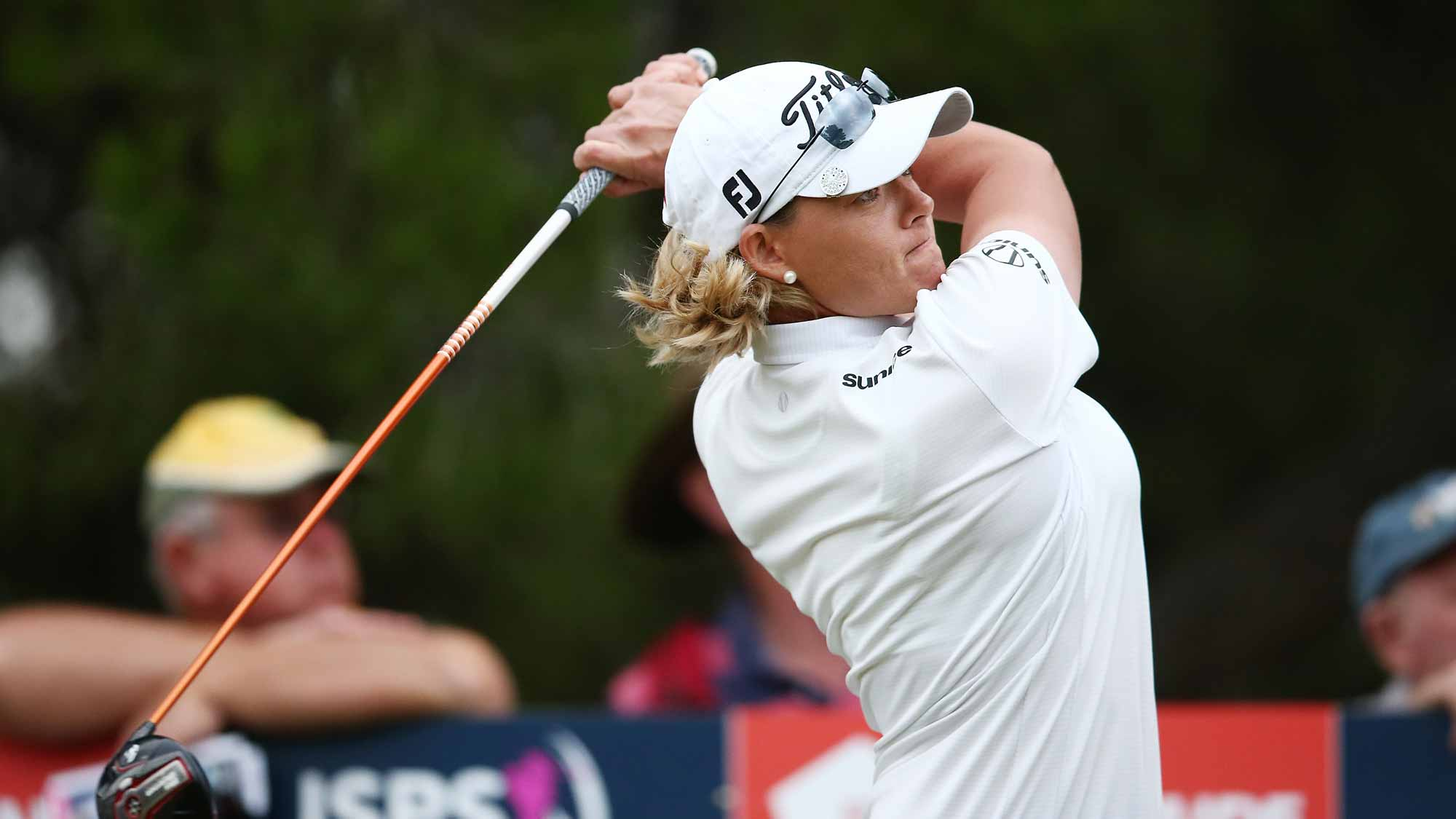 Katherine Kirk of Australia competes during day two of the ISPS Handa Women's Australian Open