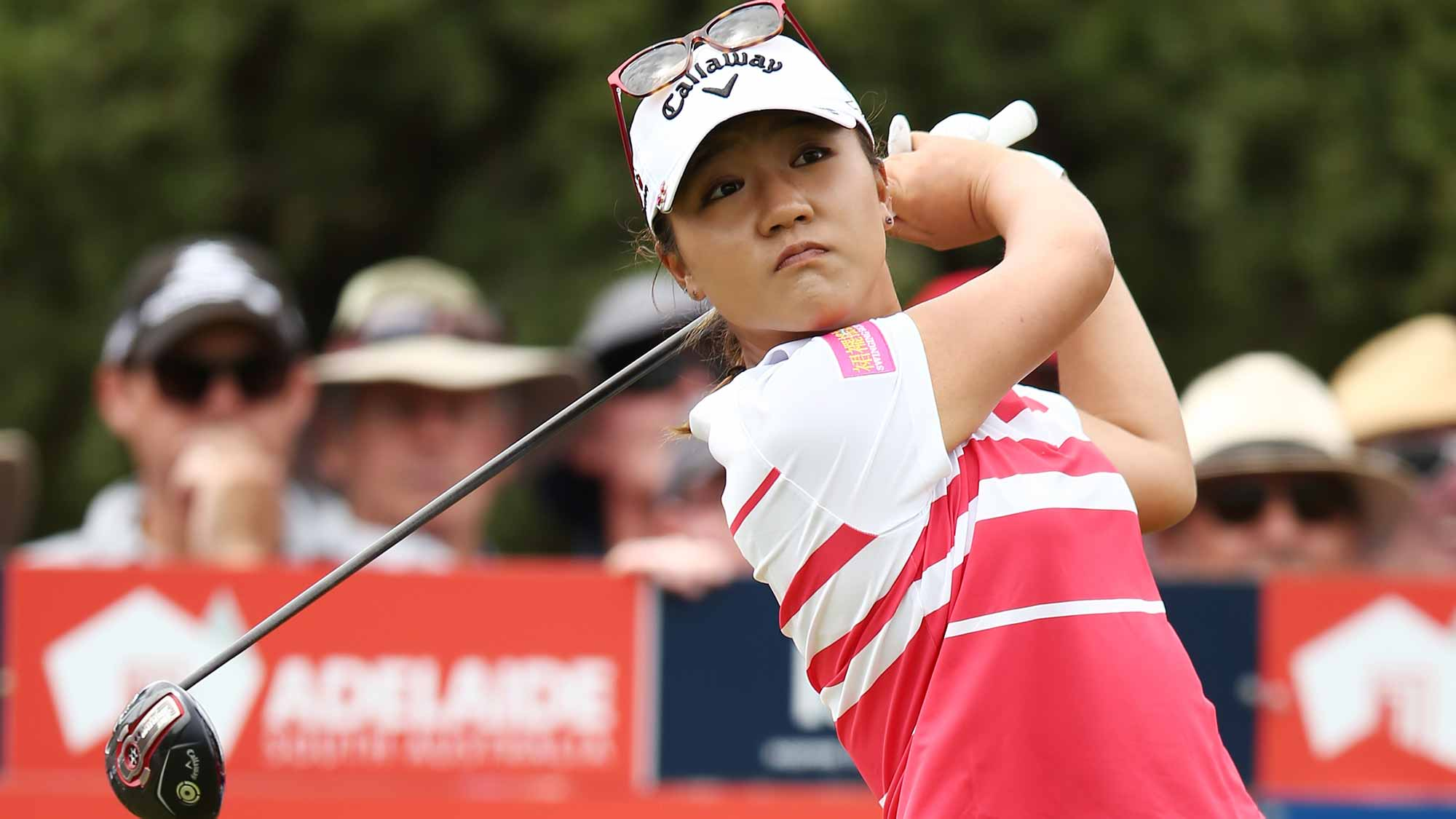 Lydia Ko of New Zealand tees off during day two of the ISPS Handa Women's Australian Open