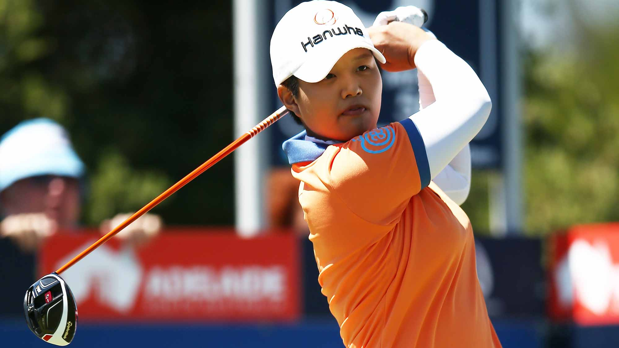Haru Nomura of Japan tees off during day three of the ISPS Handa Women's Australian Open
