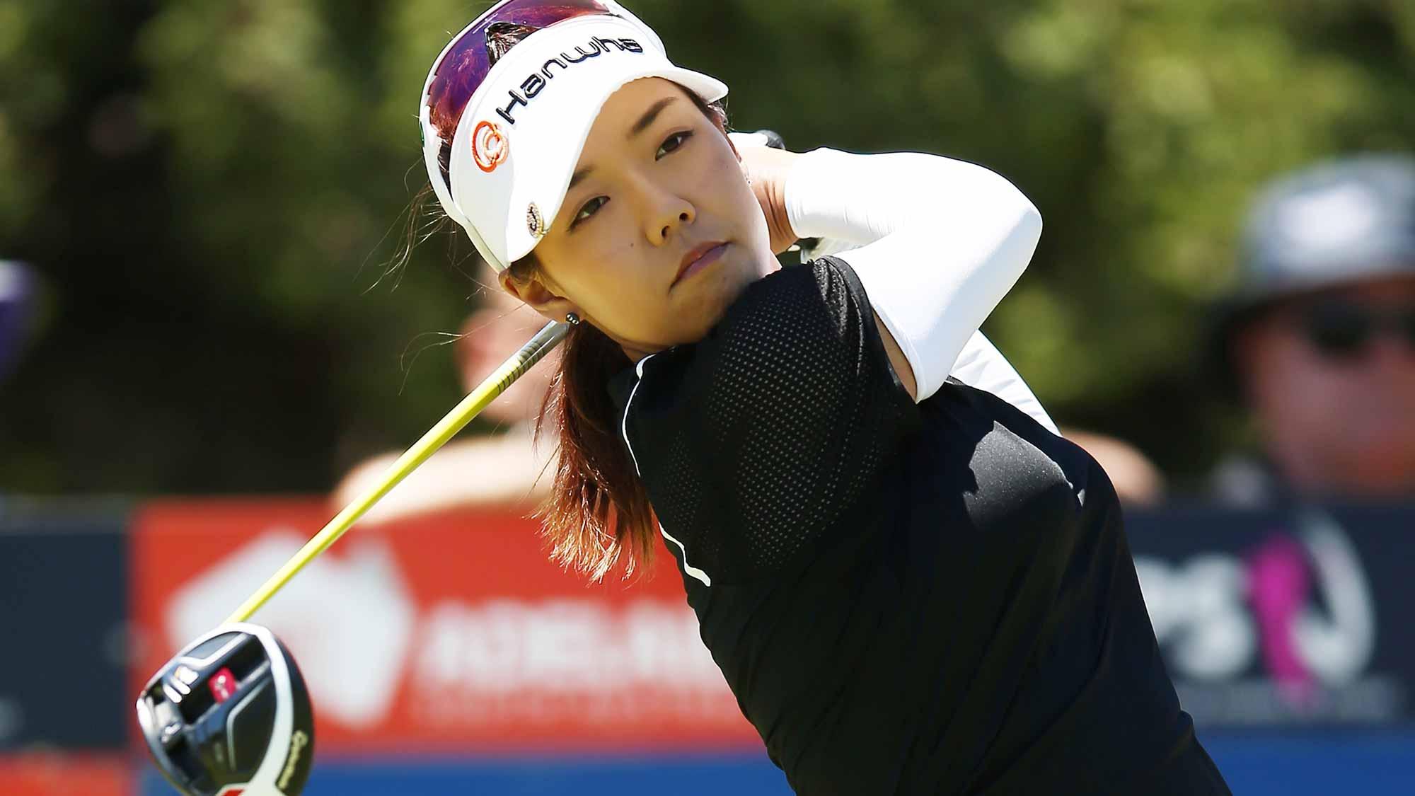 Jenny Shin of Korea competes during day three of the ISPS Handa Women's Australian Open
