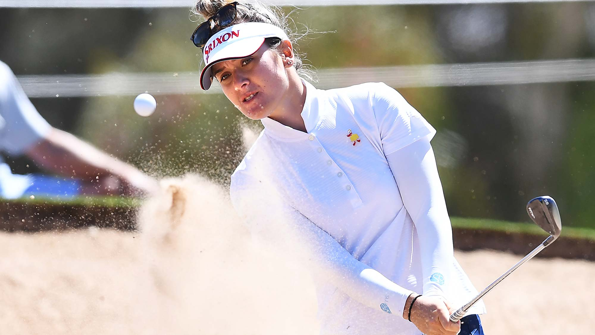 Hannah Green of Australia hits out a bunker on the 4th hole during day one of the 2019 ISPS Handa Women's Australian Open