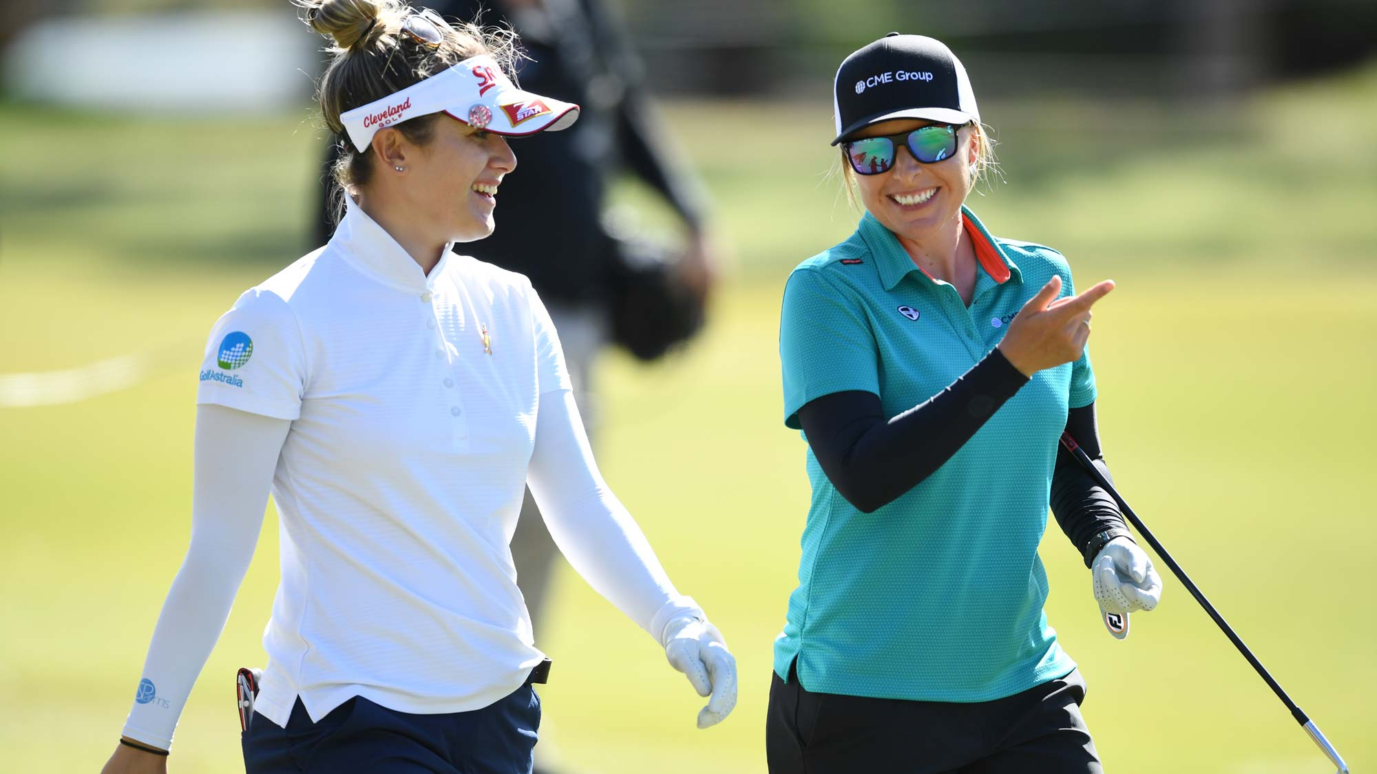 Hannah Green of Australia (left) and Sarah Kemp of Australia during day one of the 2019 ISPS Handa Women's Australian Open