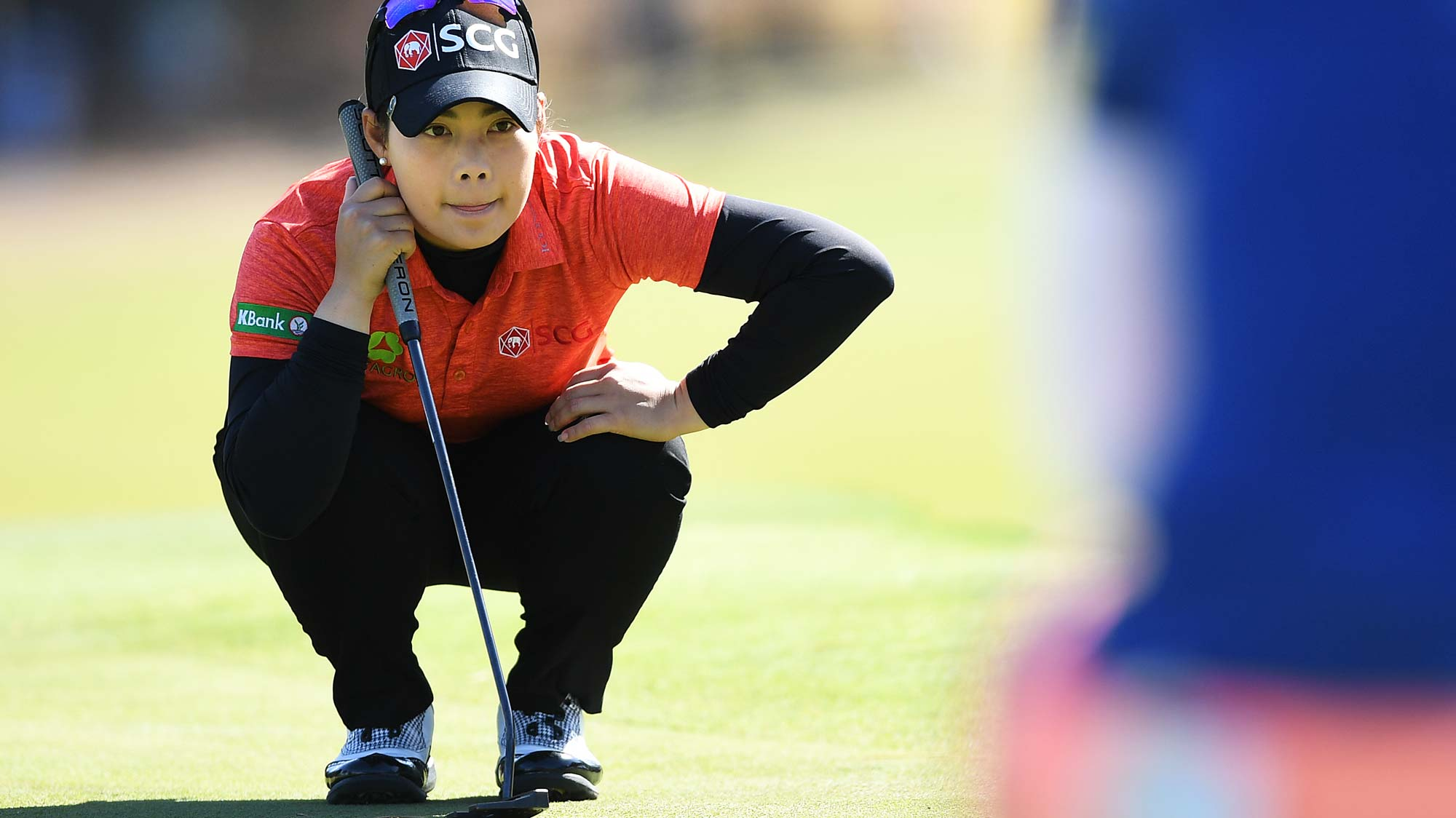 Moriya Jutanugarn of Thailand lines up a put during day one of the 2019 ISPS Handa Women's Australian Open