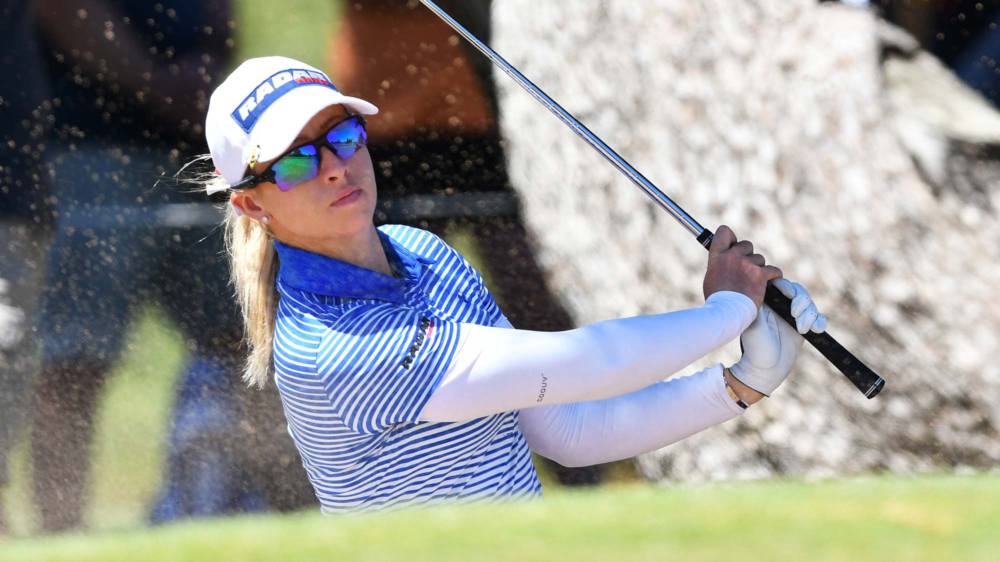 Jodi Ewart Shadoff of Great Britain hits out of a bunker on the 14th during day two of the 2019 ISPS Handa Women's Australian Open