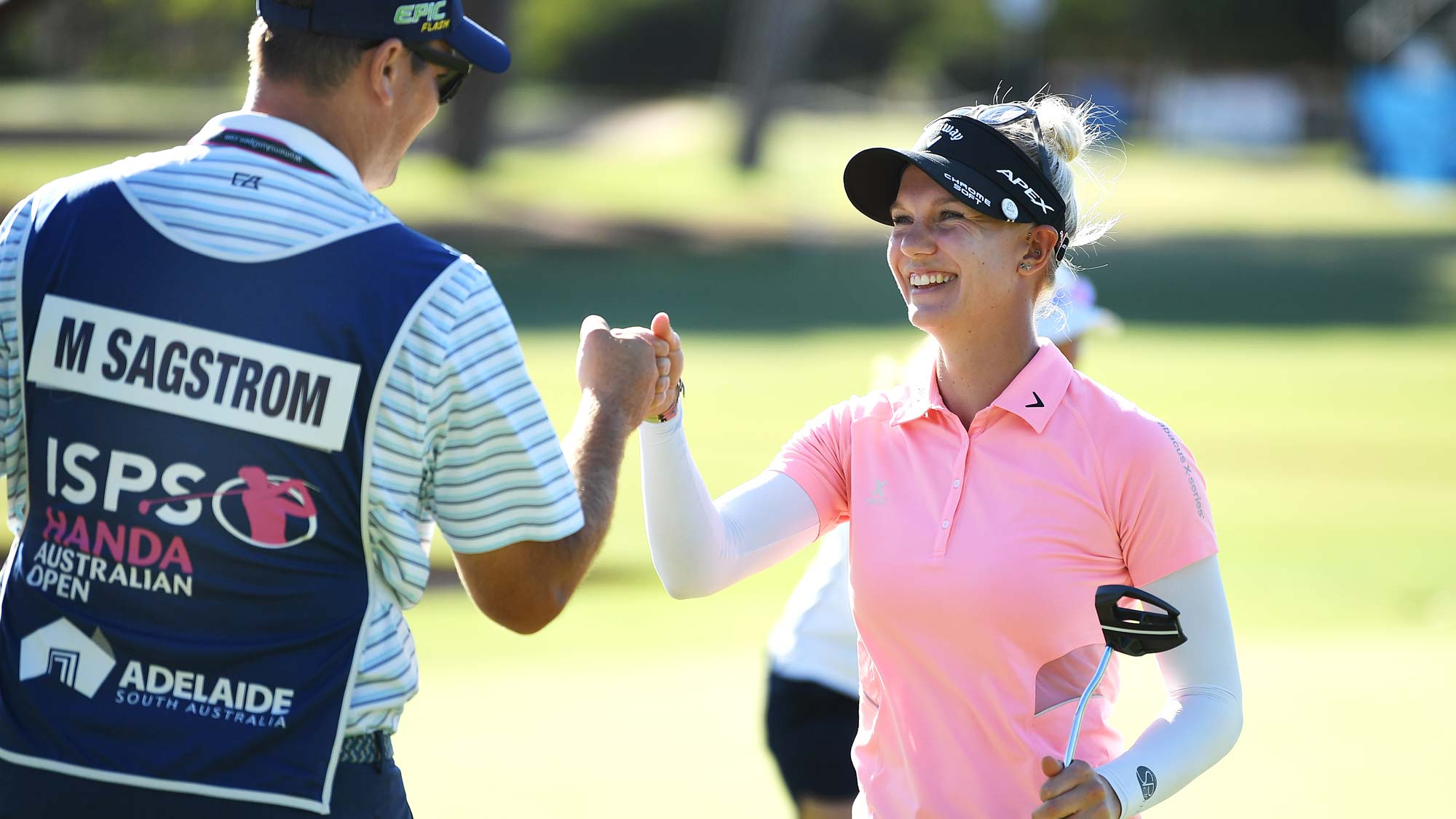Madelene Sagstrom of Sweden fist pumps her caddie after fininshing eaqual leader during day two of the 2019 ISPS Handa Women's Australian Open