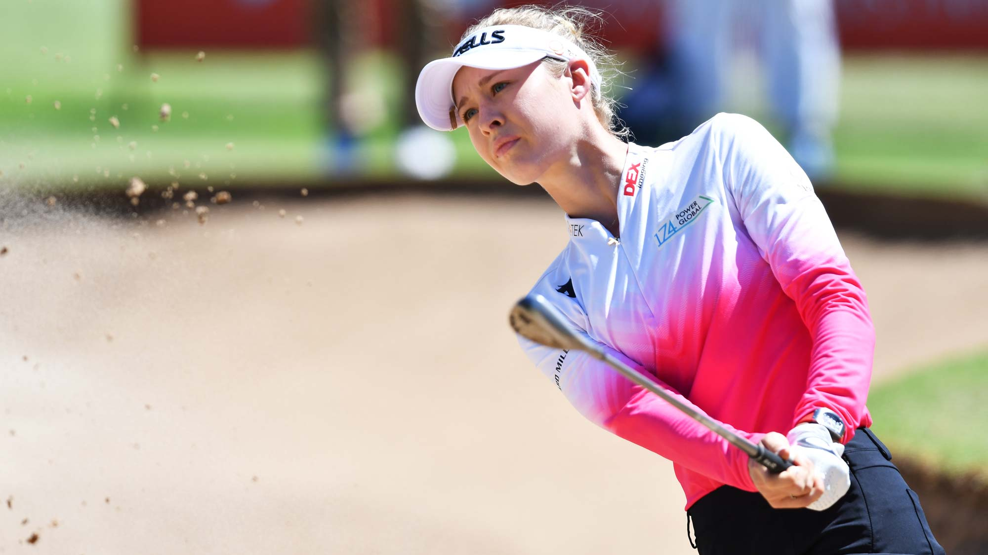 Nelly Korda of the USA hits out of a bunker on the 9th during day two of the 2019 ISPS Handa Women's Australian Open