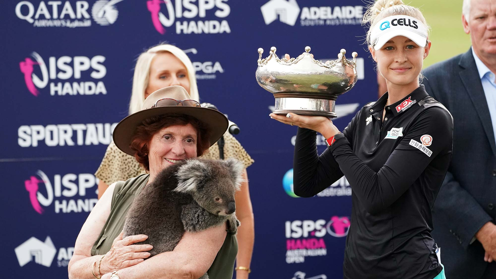 Nelly Korda of the USA with the trophy and Honey the koala during day four of the 2019 ISPS Handa Women's Australian Open