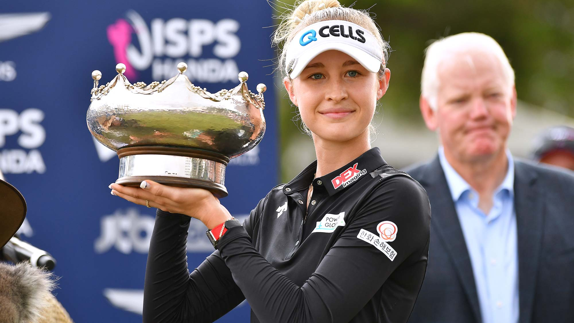 Nelly Korda of the United States poses with the trophy during day four of the 2019 ISPS Handa Women's Australian Open