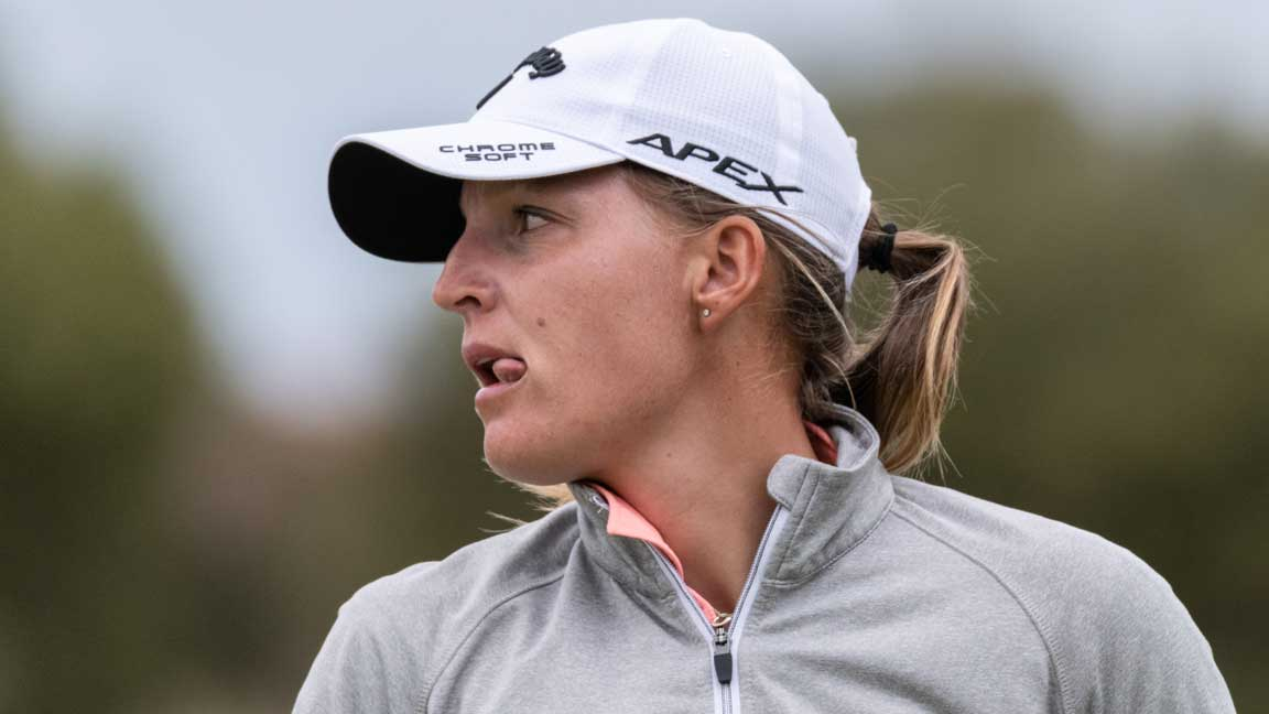 Perrine Delacour during third round play at 2020 ISPS Handa Women's Australian Open