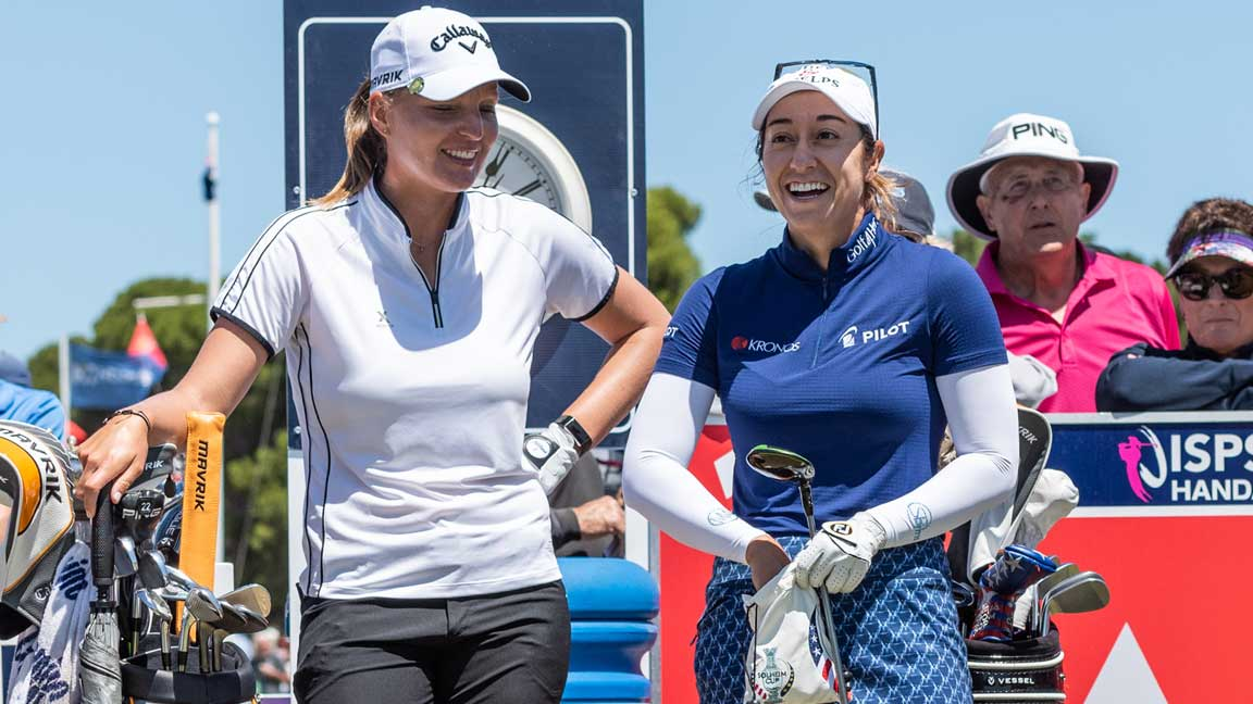 Perrine Delacour and Marina Alex during fourth round at 2020 ISPS Handa Women's Australian Open