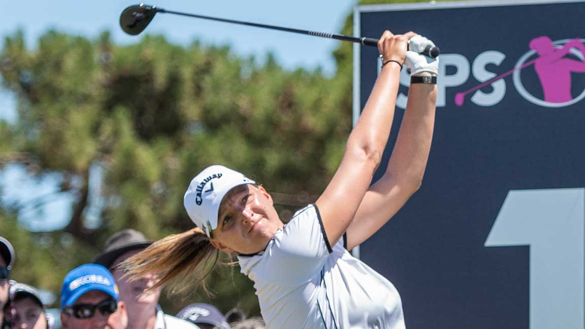 Perrine Delacour during fourth round at 2020 ISPS Handa Women's Australian Open