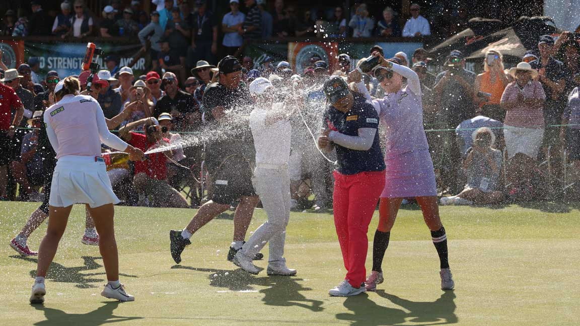 Inbee Park celebrates win during round four of the 2020 ISPS Handa Women's Australian Open