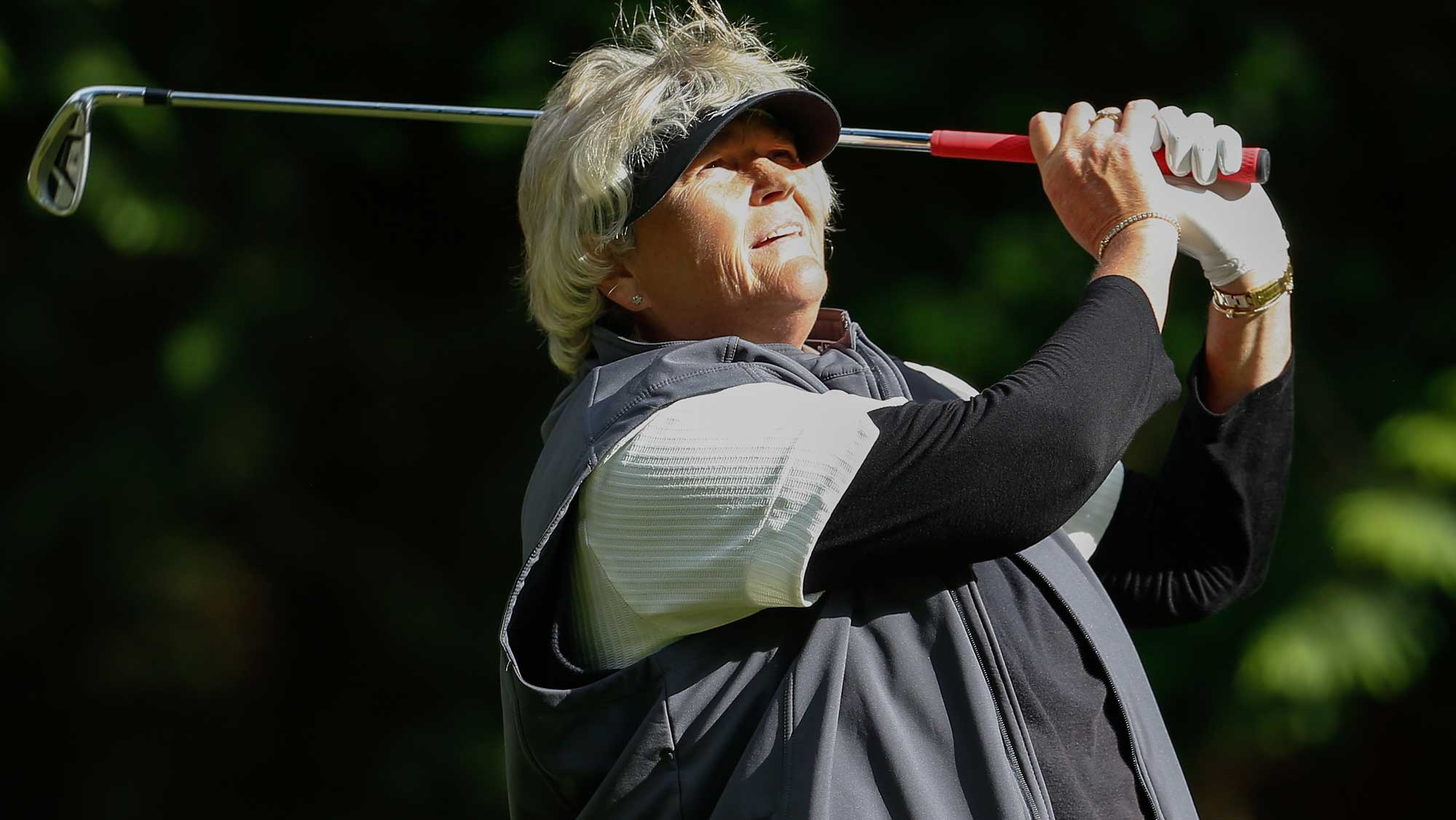 Laura Davies of England hits a tee shot on the 13th tee during the second round of the KPMG Women's PGA Championship