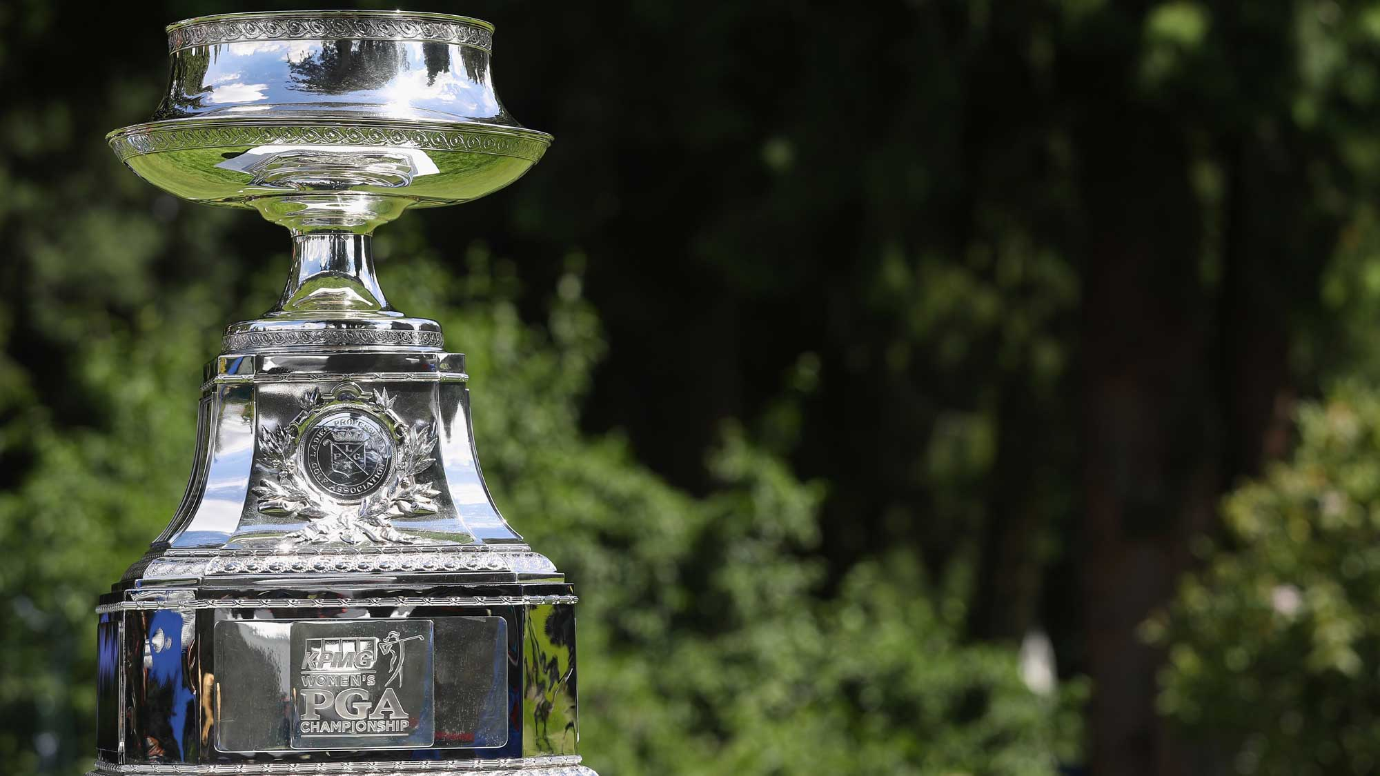 The winner's trophy is seen on the first tee during the final round of the KPMG Women's PGA Championship