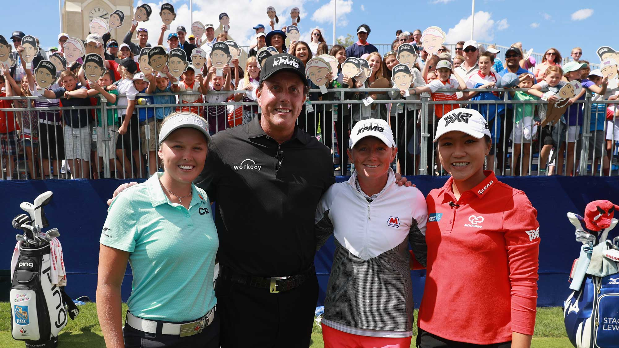 (L-R) Brooke Henderson, Phil Mickelson, Stacy Lewis and Lydia Ko pose together during a skills challenge prior to the start of the 2017 KPMG Women's PGA Championship