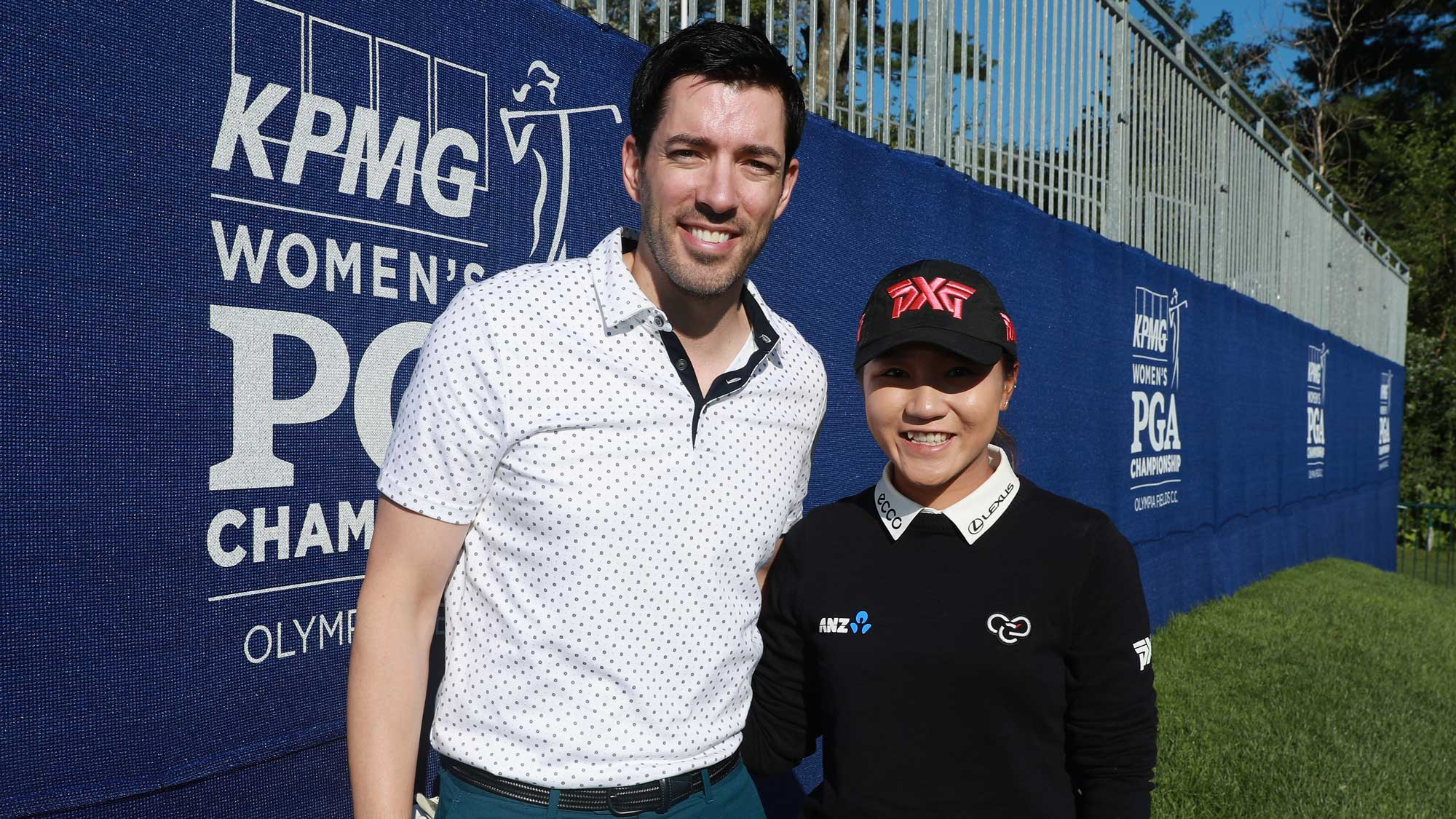 Drew Scott of HGTV (L) poses with Lydia Ko of South Korea during the pro-am prior to the start of the 2017 KPMG Women's PGA Championship