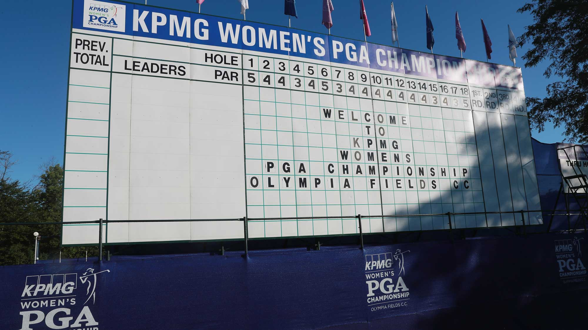 A message is displayed on the main leaderboard on the 18th hole during the pro-am prior to the start of the 2017 KPMG Women's PGA Championship