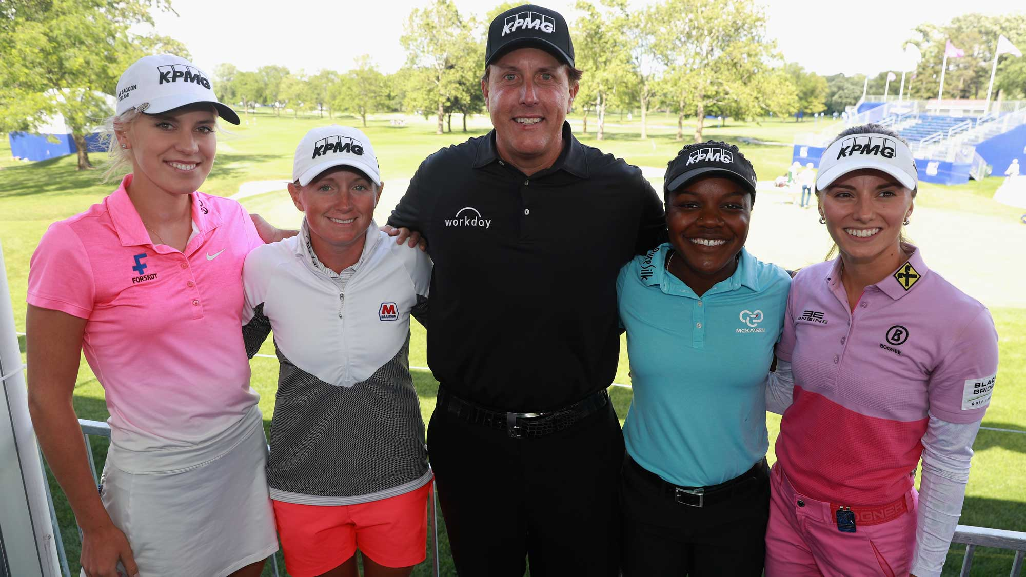 (L-R) Olafia Kristinsdottir, Stacy Lewis, Phil Mickelson, Mariah Stackhouse and Klara Spilkova pose together prior to the start of the 2017 KPMG Women's PGA Championship