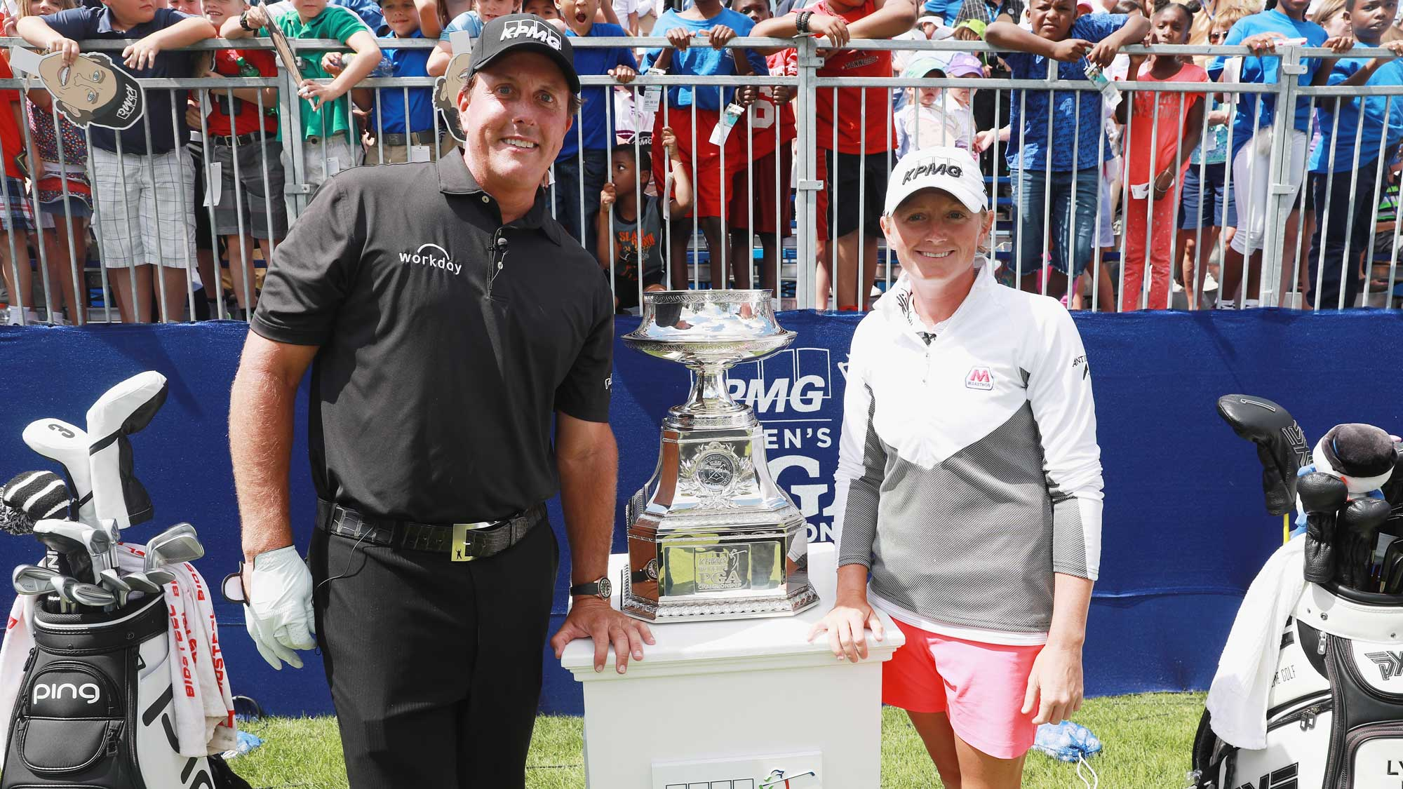 Phil Mickelson (L) and Stacy Lewis pose together during a a skills challenge prior to the start of the 2017 KPMG Women's PGA Championship