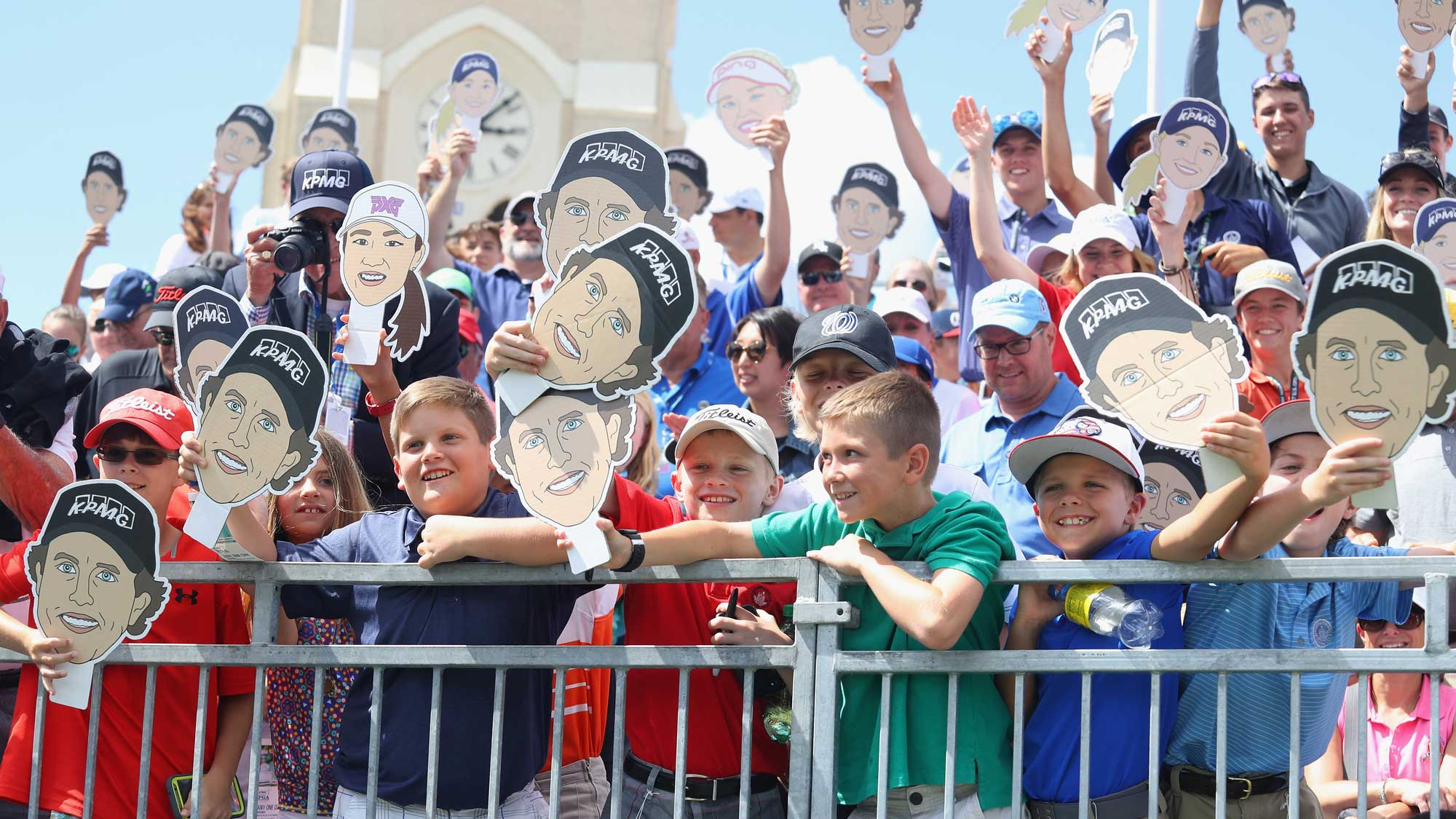 Young fans watch a skills challenge prior to the start of the 2017 KPMG Women's PGA Championship