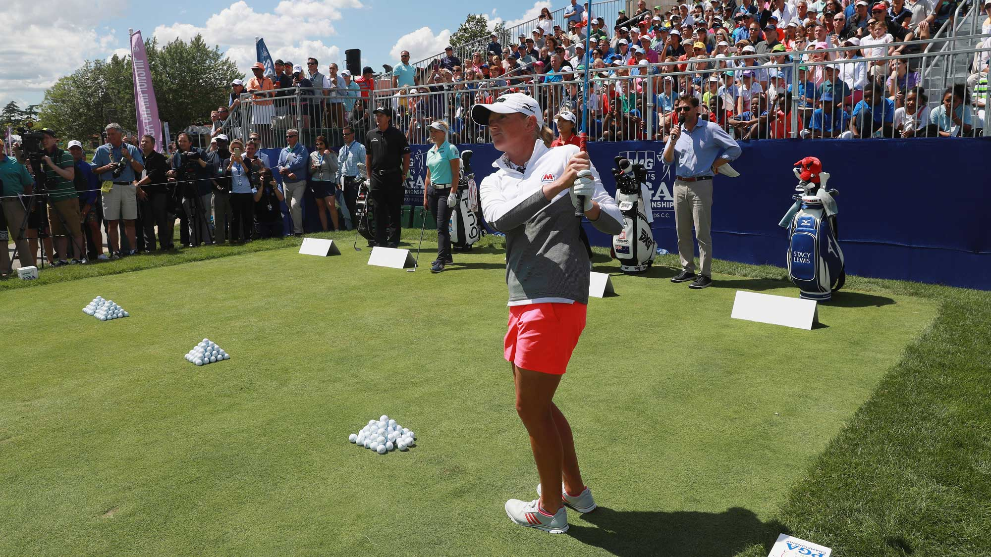 Stacy Lewis hits a shot during a a skills challenge prior to the start of the 2017 KPMG Women's PGA Championship