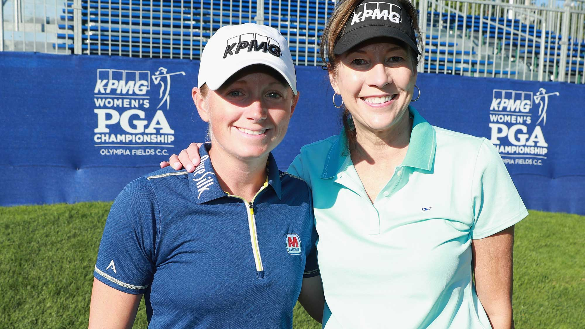 Stacy Lewis (L) poses alongside Lynne Doughtie, Chairman and CEO of KPMG, during the pro-am prior to the start of the 2017 KPMG Women's PGA Championship