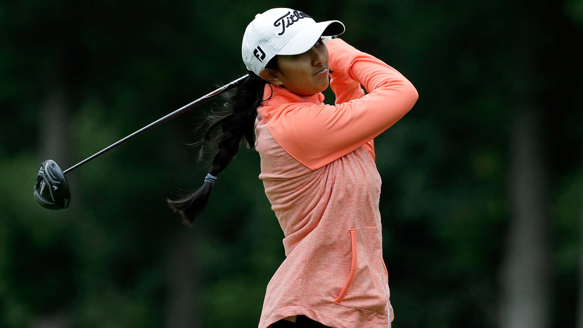 Aditi Ashok of India hits her tee shot on the sixth hole during a practice round prior to the 2017 KPMG PGA Championship