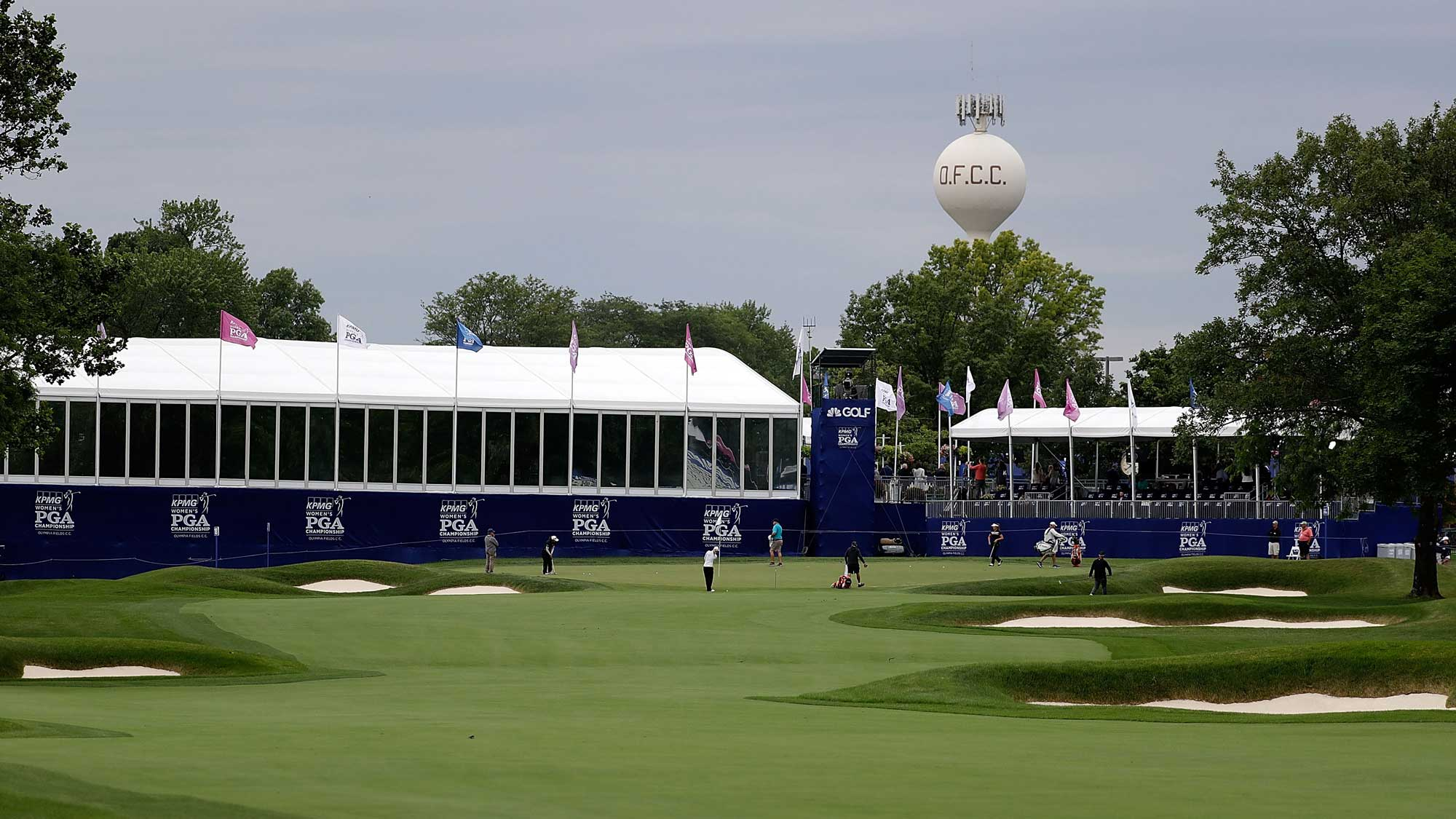 A general view of the 18th green during a practice round prior to the 2017 KPMG PGA Championship
