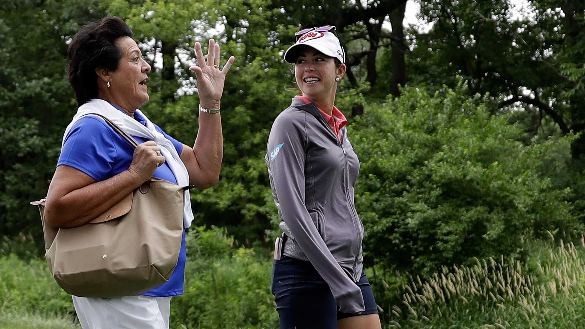 Nancy Lopez and Paula Creamer walk off the third tee box during a practice round prior to the 2017 KPMG PGA Championship