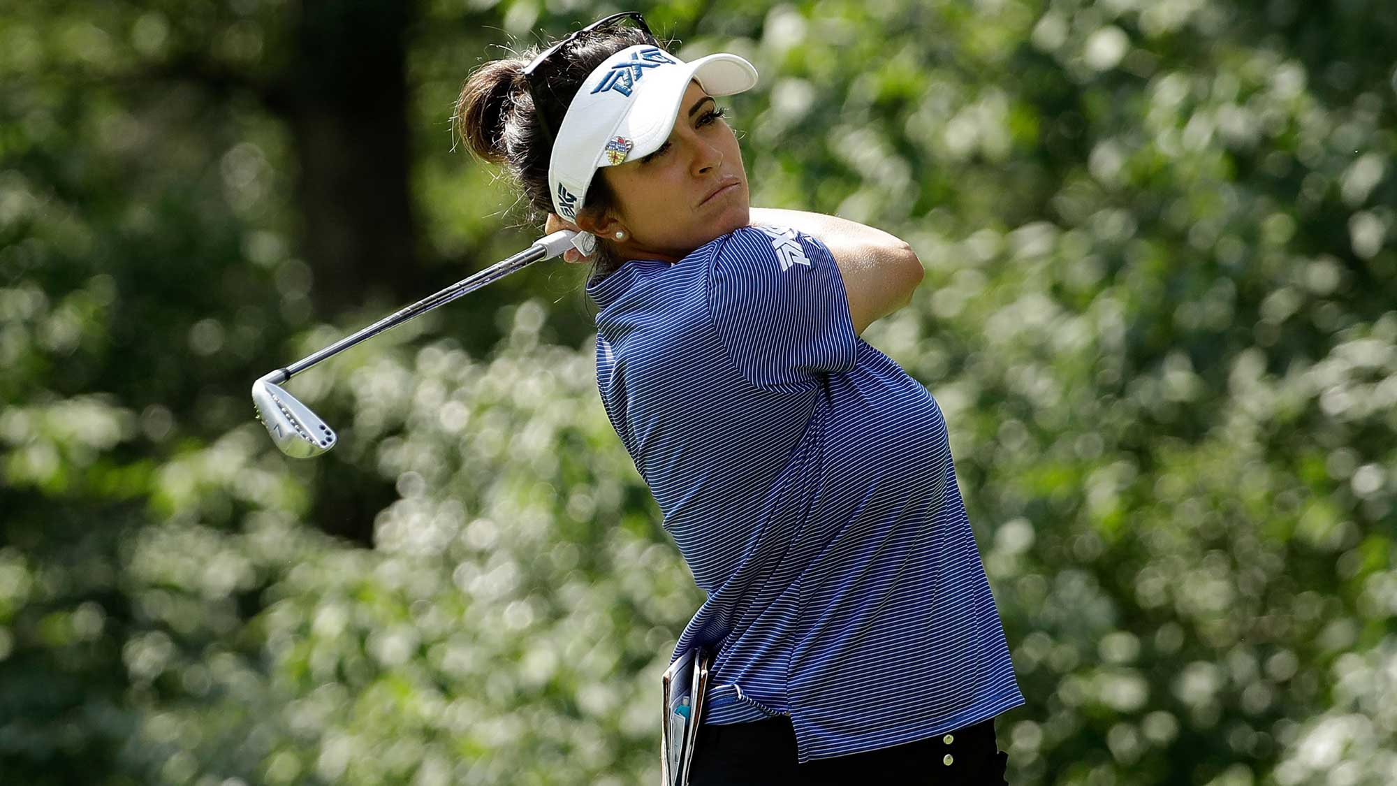 Gerina Piller hits her tee shot on the seventh hole during the second round of the 2017 KPMG PGA Championship