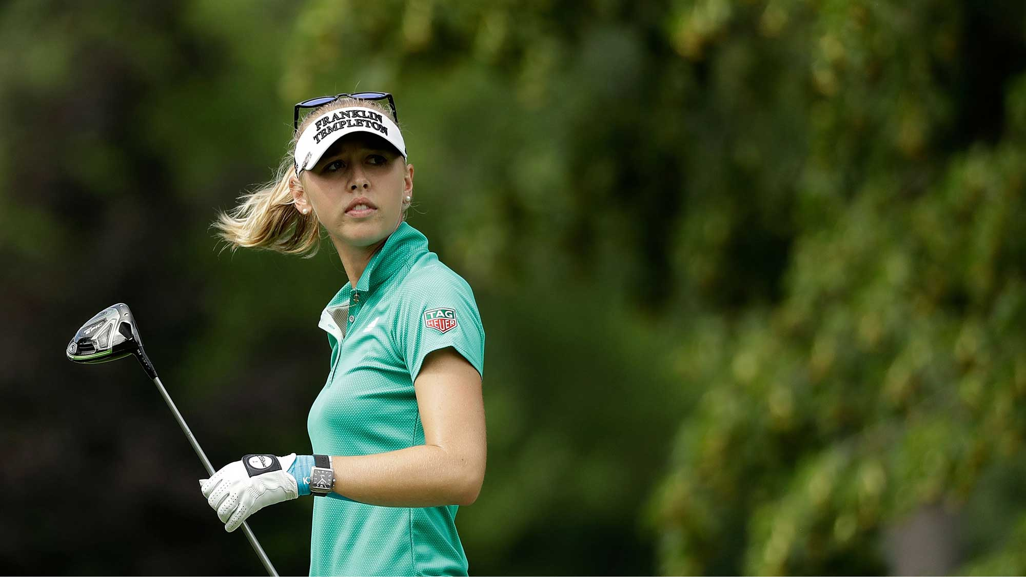 Jessica Korda watches her tee shot on the fifth hole during the second round of the 2017 KPMG PGA Championship