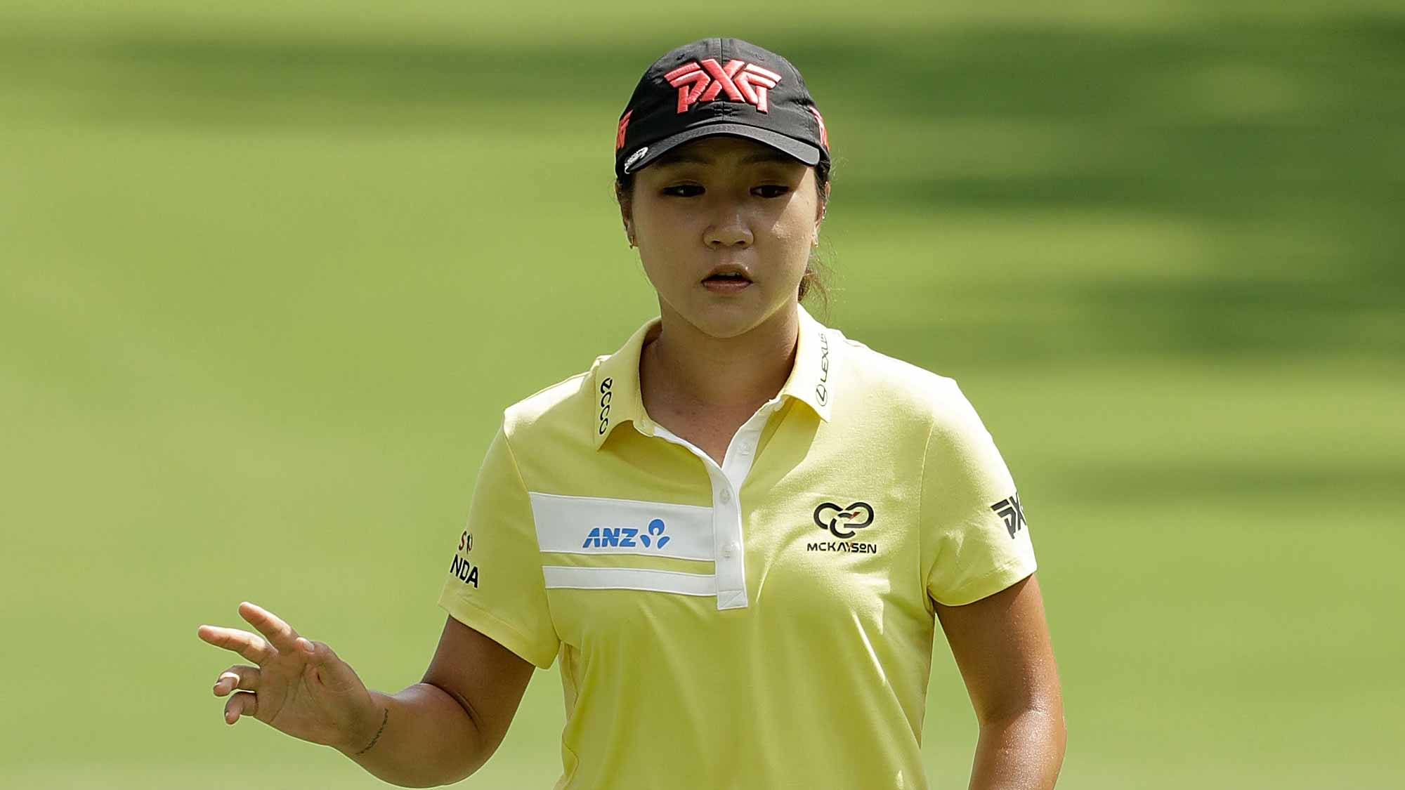 Lydia Ko of New Zealand waves to the crowd following a birdie on the sixth green during the second round of the 2017 KPMG PGA Championship at Olympia Fields
