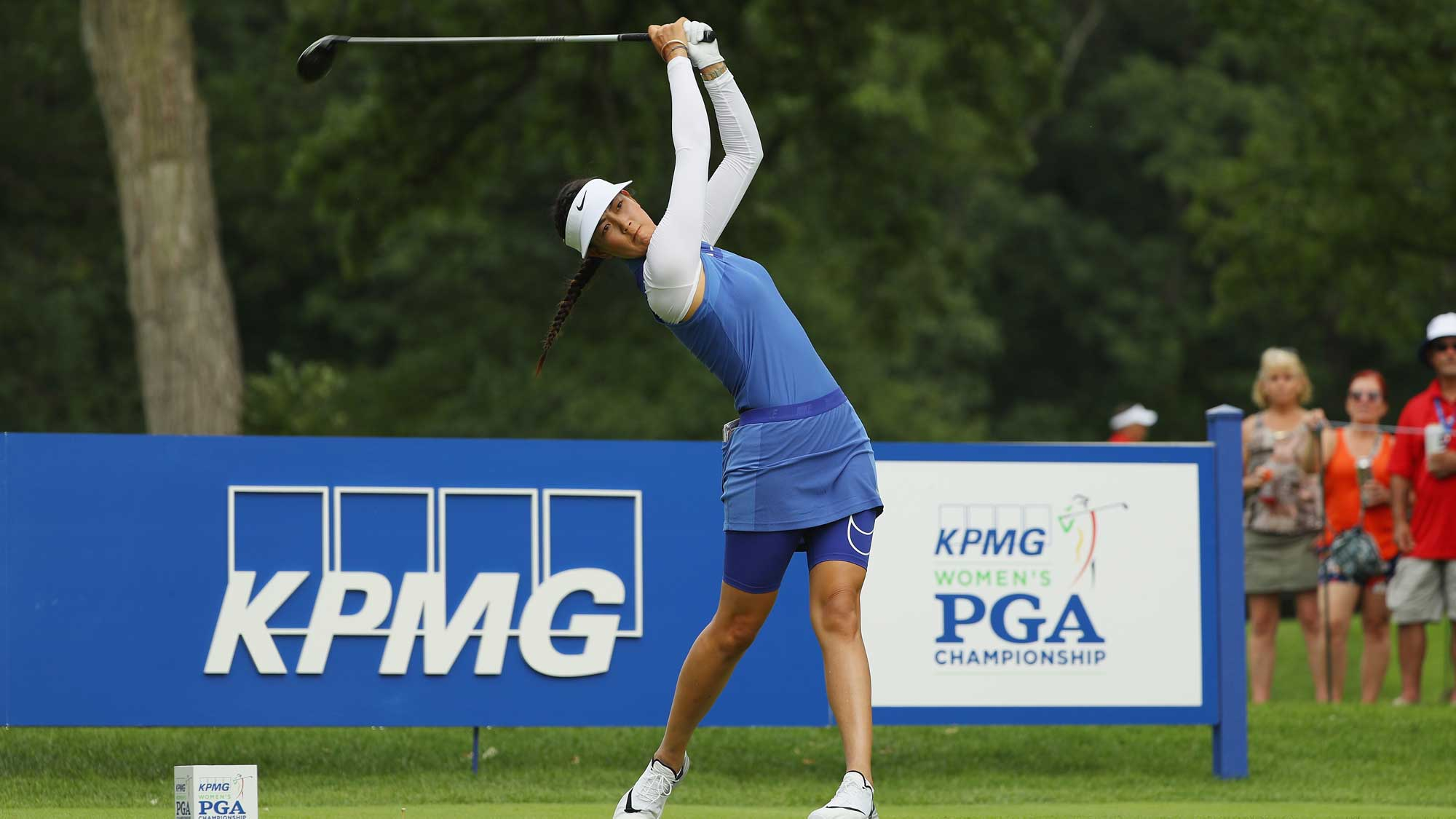 Michelle Wie hits a tee shot on the 16th hole during the second round of the 2017 KPMG Women's PGA Championship