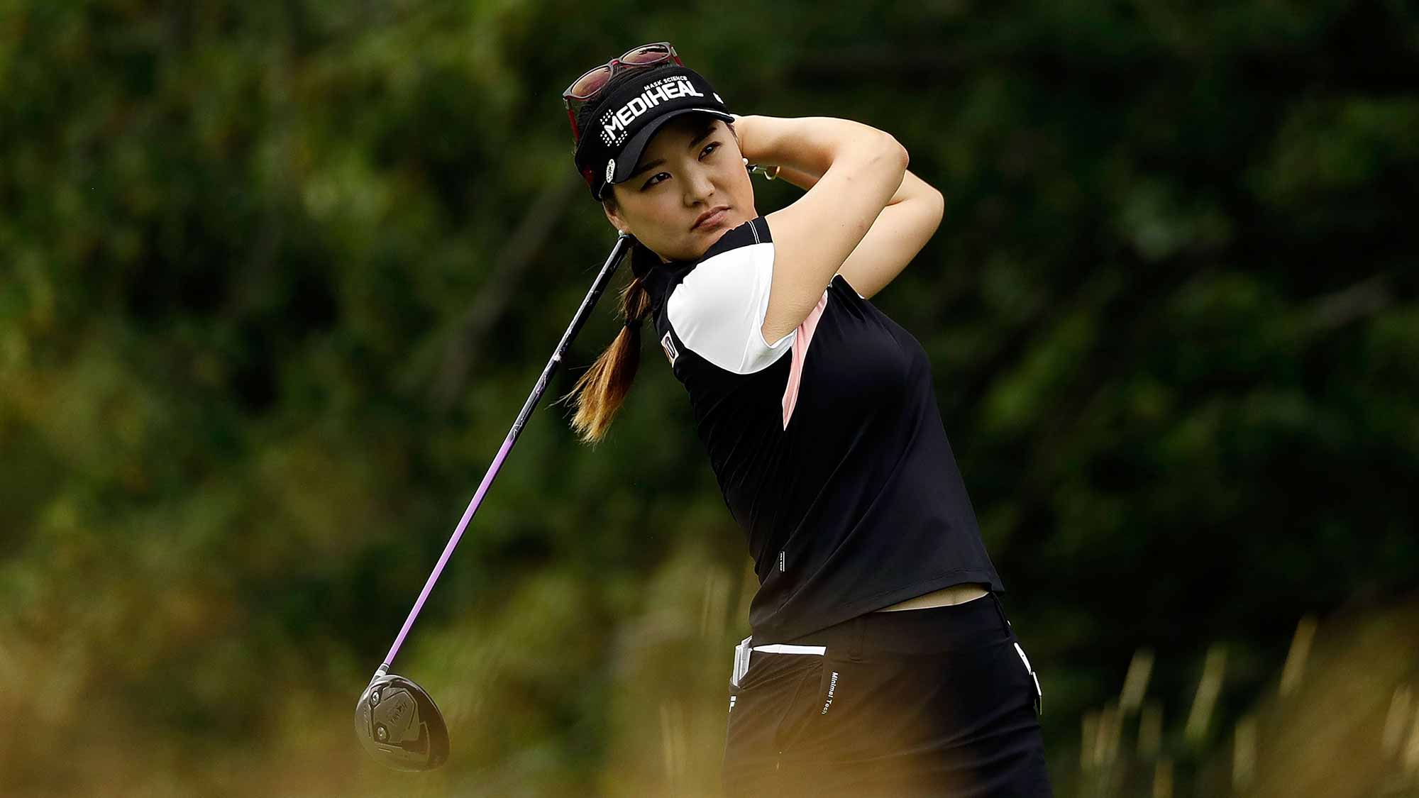 So Yeon Ryu of South Korea hits her tee shot on the fifth hole during the second round of the 2017 KPMG PGA Championship at Olympia Fields