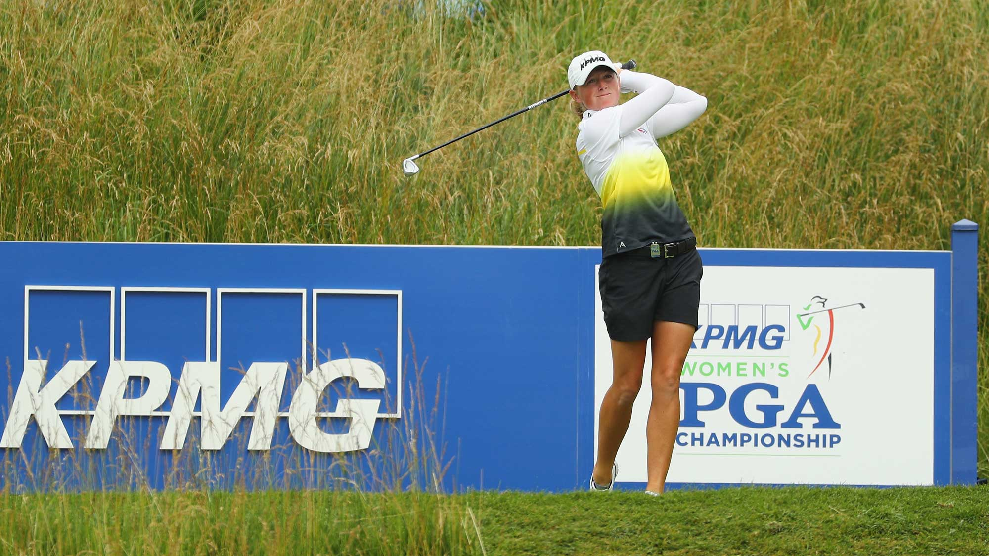 Stacy Lewis watches a tee shot on the 16th hole during the second round of the 2017 KPMG Women's PGA Championship