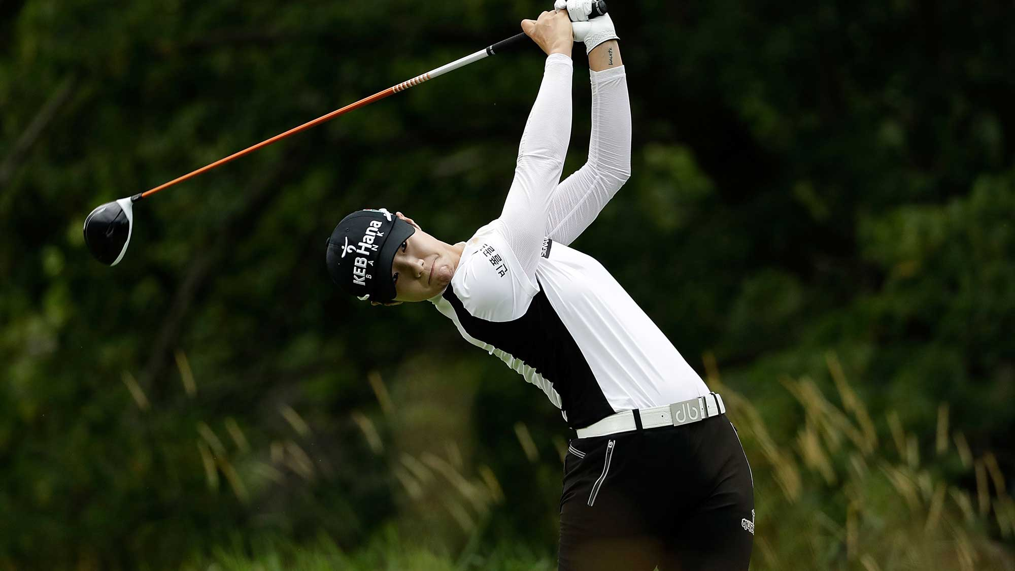 Sung Hyun Park of South Korea hits her tee shot on the fifth hole during the second round of the 2017 KPMG PGA Championship