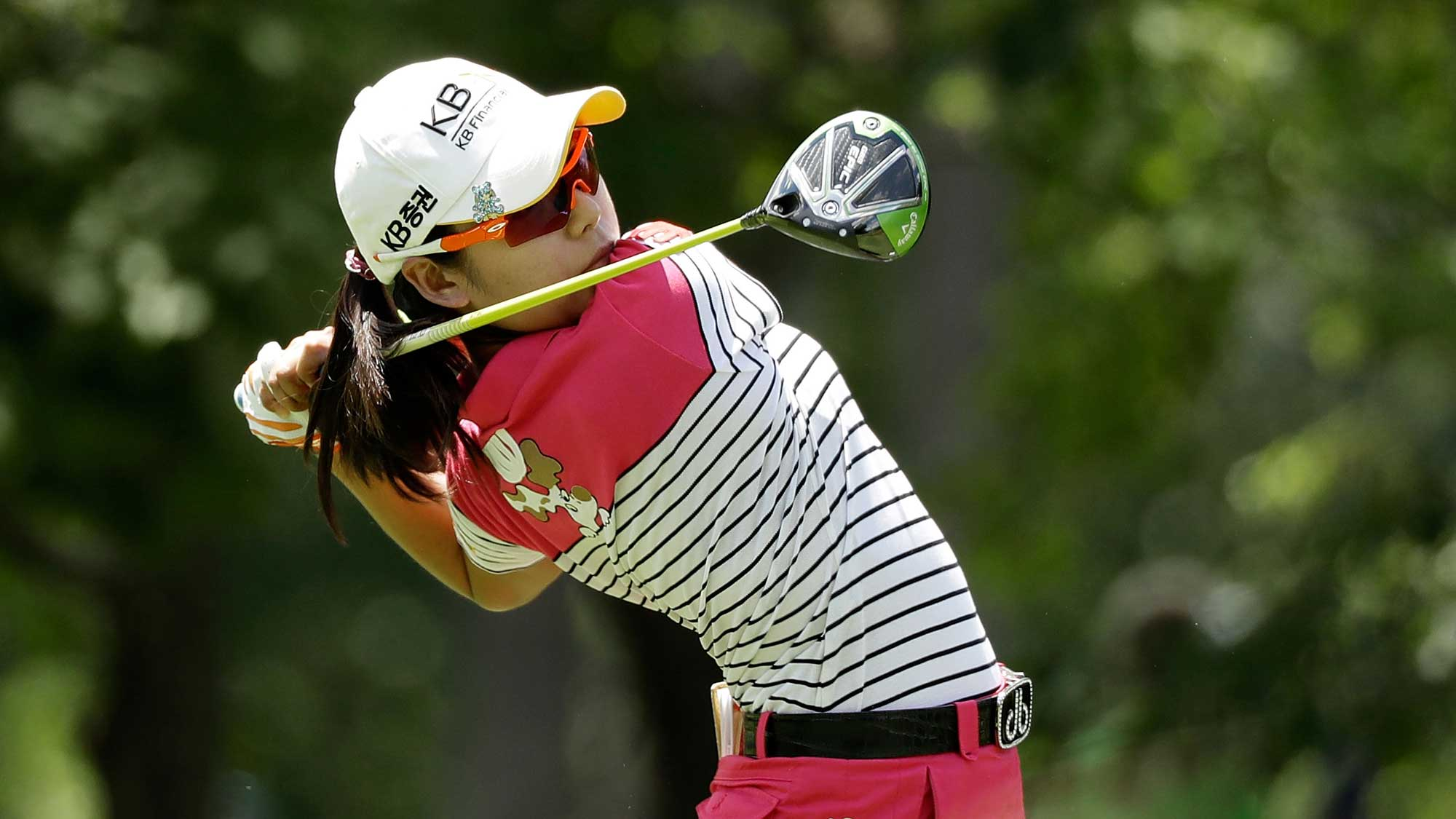 Mi Hyang Lee of South Korea hits her tee shot on the fifth hole during the third round of the 2017 KPMG PGA Championship