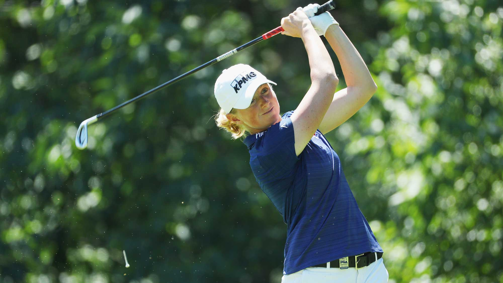 Stacy Lewis hits her tee shot on the seventh hole during the third round of the 2017 KPMG Women's PGA Championship