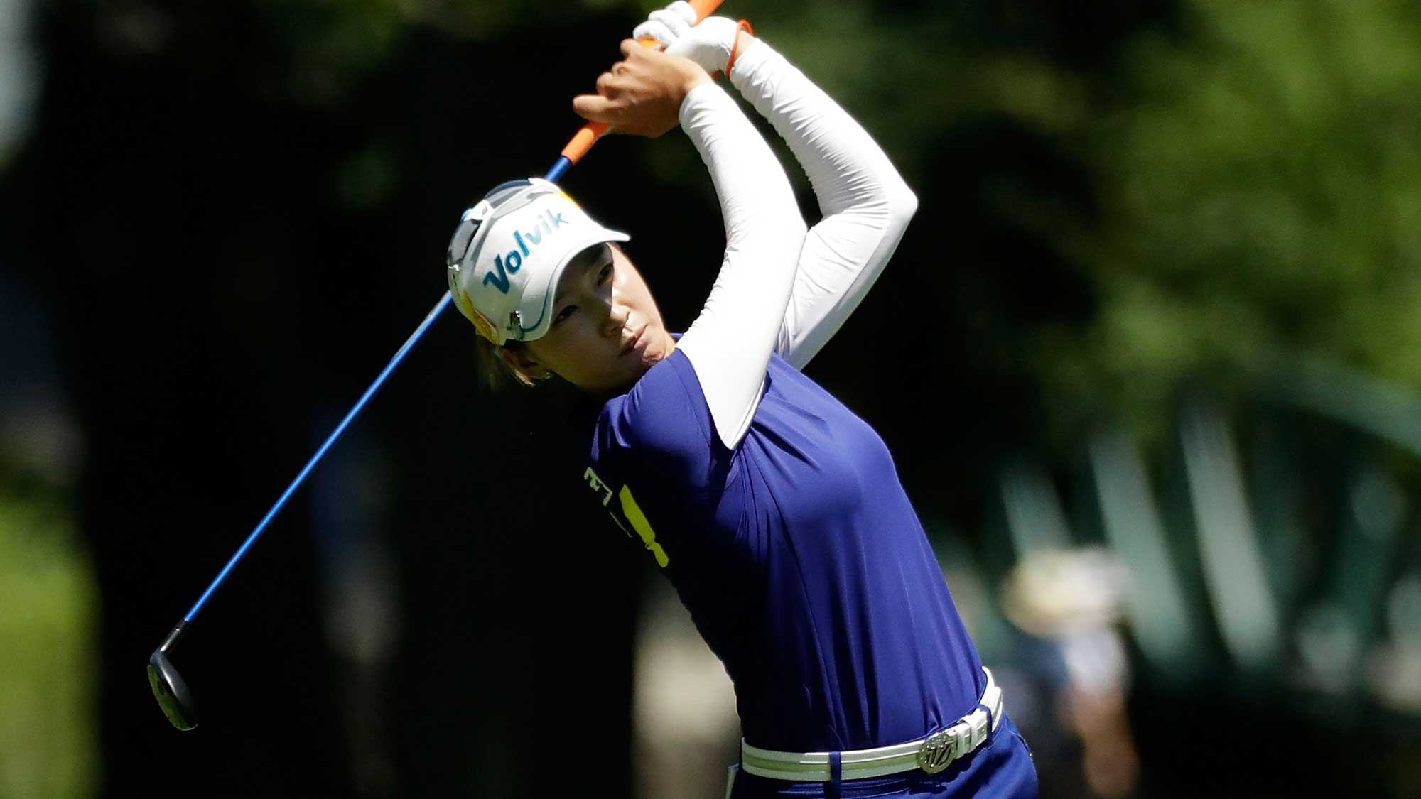Chella Choi of South Korea hits her approach shot on the fourth hole during the final round of the 2017 KPMG PGA Championship