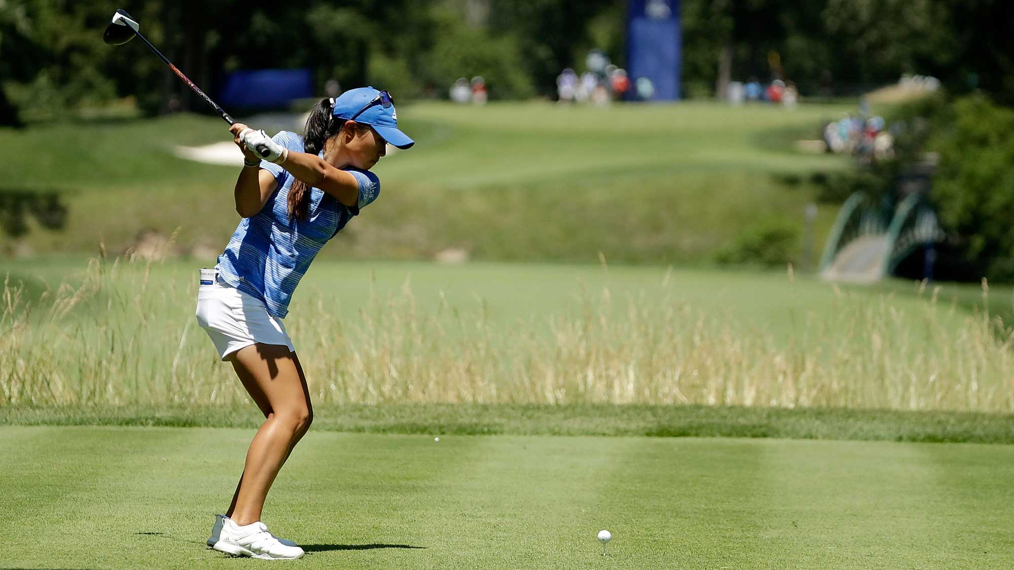 Danielle Kang hits her tee shot on the fifth hole during the final round of the 2017 KPMG PGA Championship
