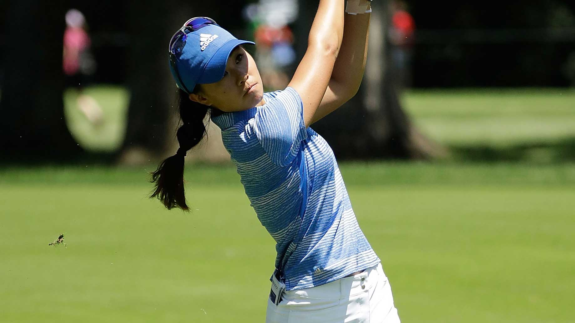Danielle Kang hits her approach shot on the second hole during the final round of the 2017 KPMG PGA Championship