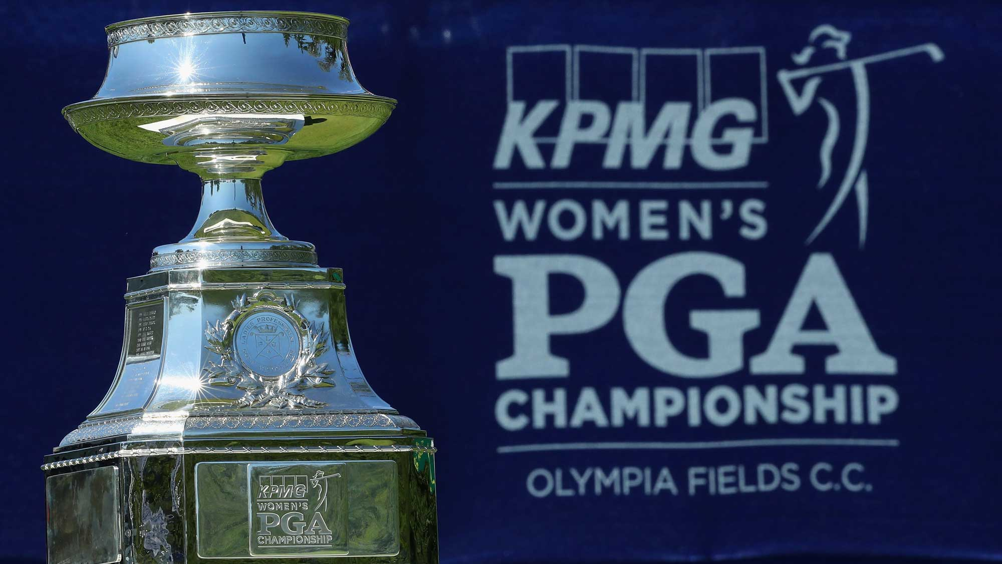 The winner's trophy is seen on the first tee during the final round of the 2017 KPMG Women's PGA Championship